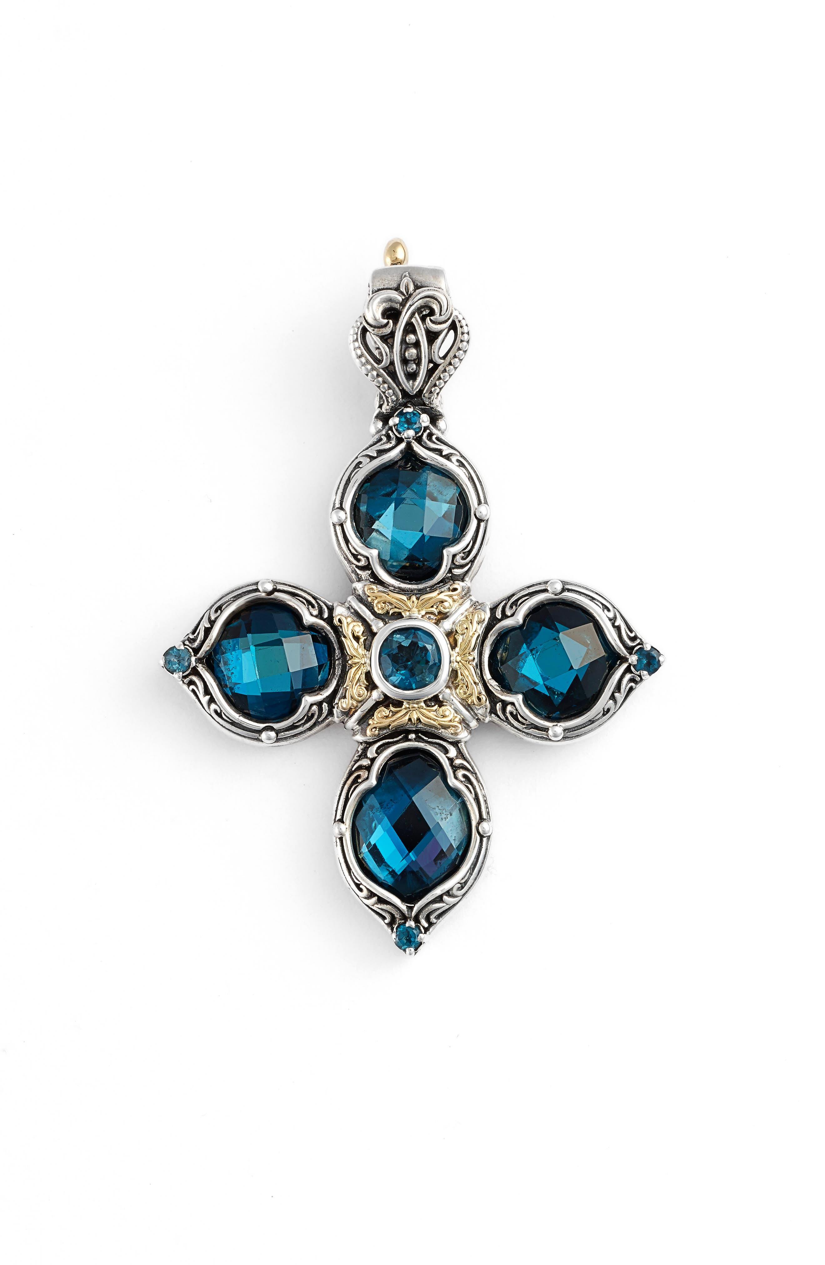 'Thalassa' Blue Topaz Cross Pendant,                             Alternate thumbnail 2, color,                             SILVER/ LONDON BLUE TOPAZ