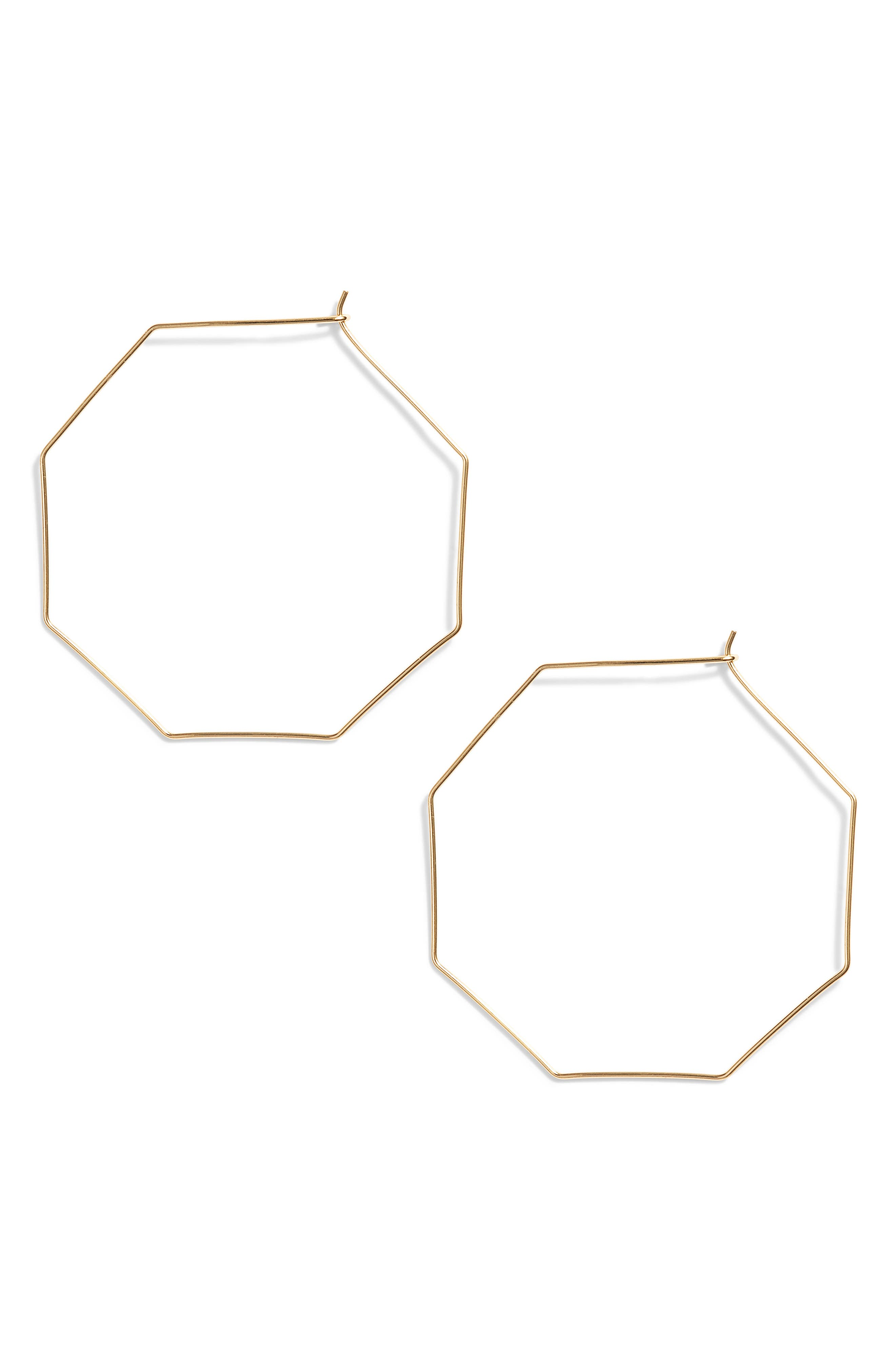 Octagon Hoop Earrings,                         Main,                         color, GOLD