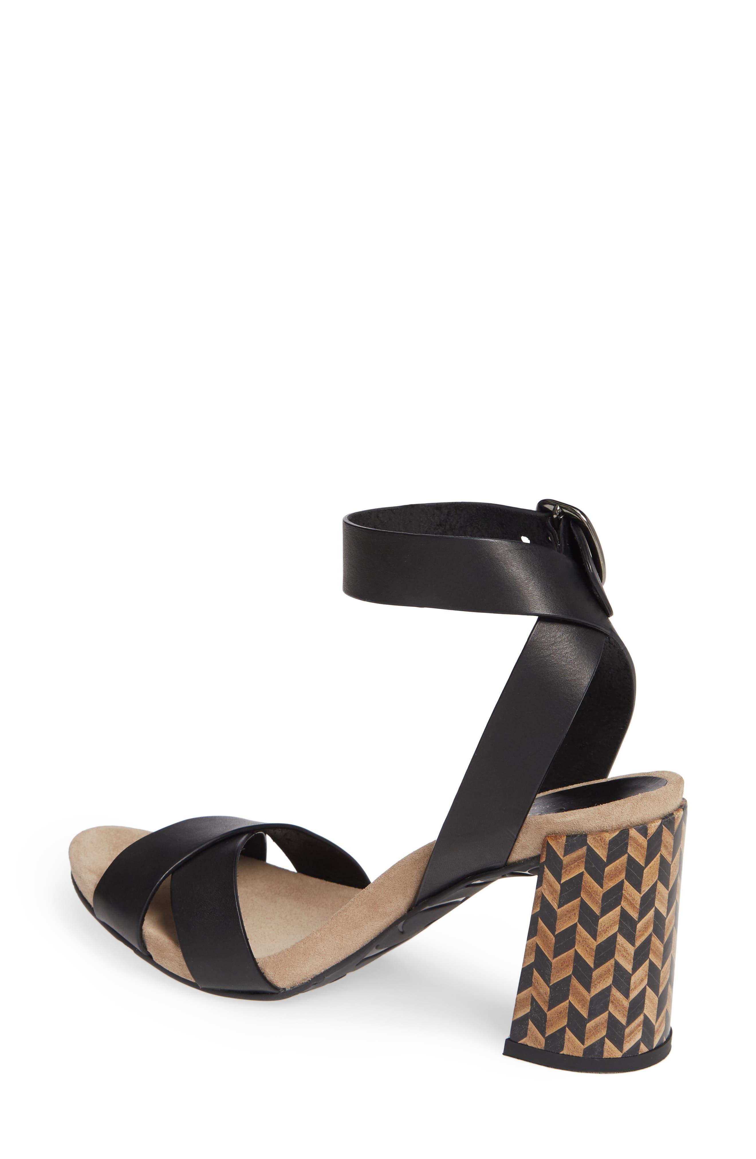 Yemba Embellished Heel Sandal,                             Alternate thumbnail 2, color,                             BLACK VACCHETTA