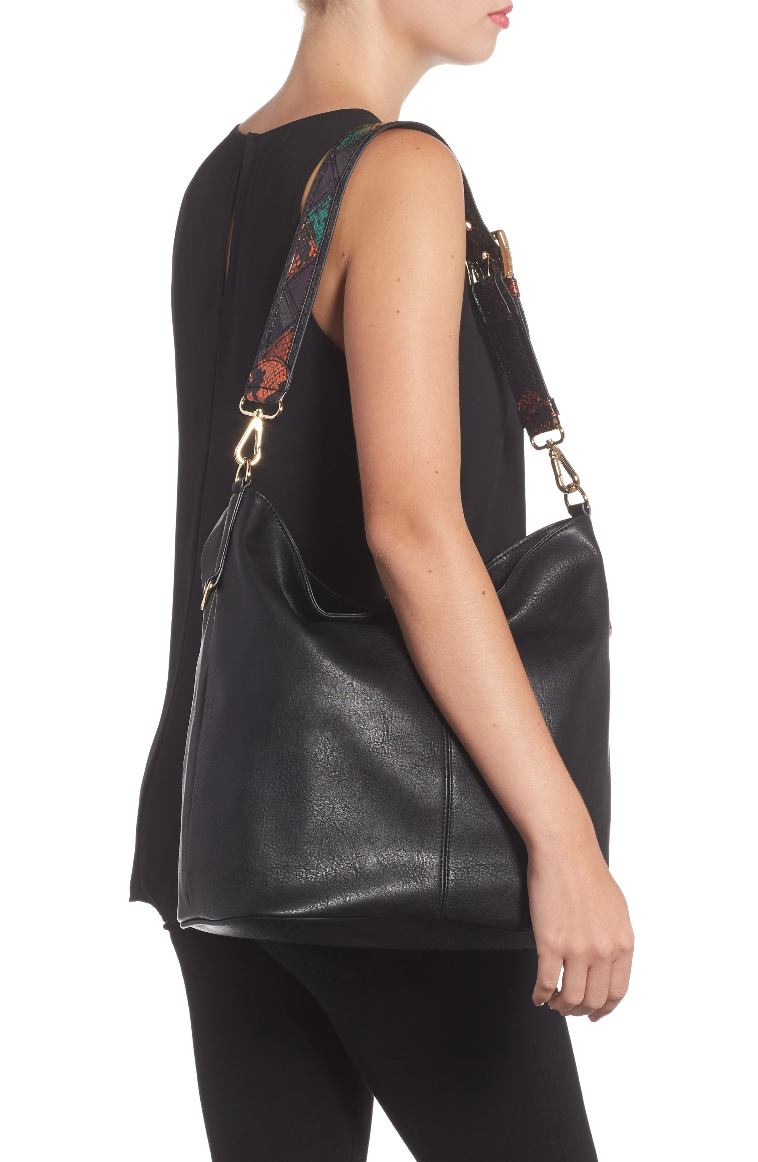 Faux Leather Hobo,                             Alternate thumbnail 2, color,                             001