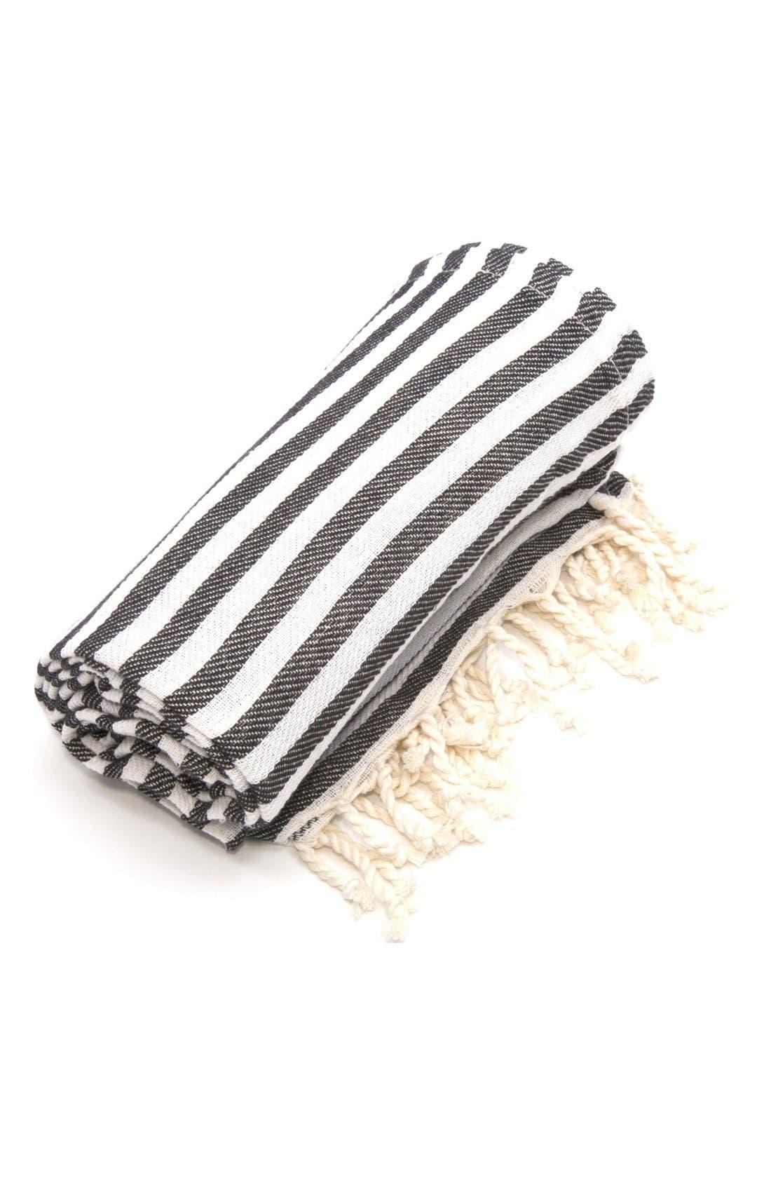 'Fun in the Sun' Turkish Pestemal Towel,                             Alternate thumbnail 3, color,                             CHARCOAL BLACK
