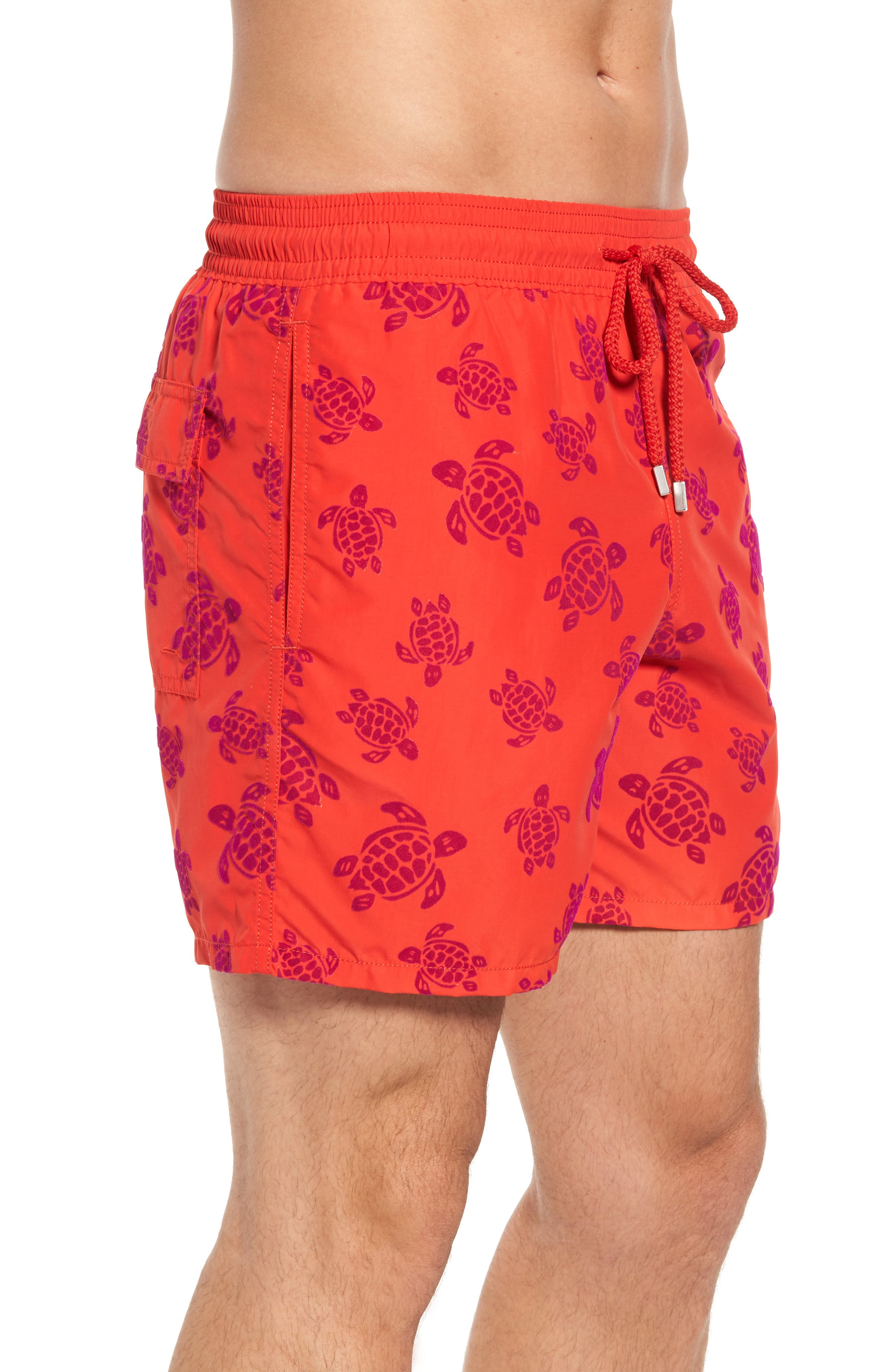 Flocked Turtles Swim Trunks,                             Alternate thumbnail 3, color,                             POPPY RED