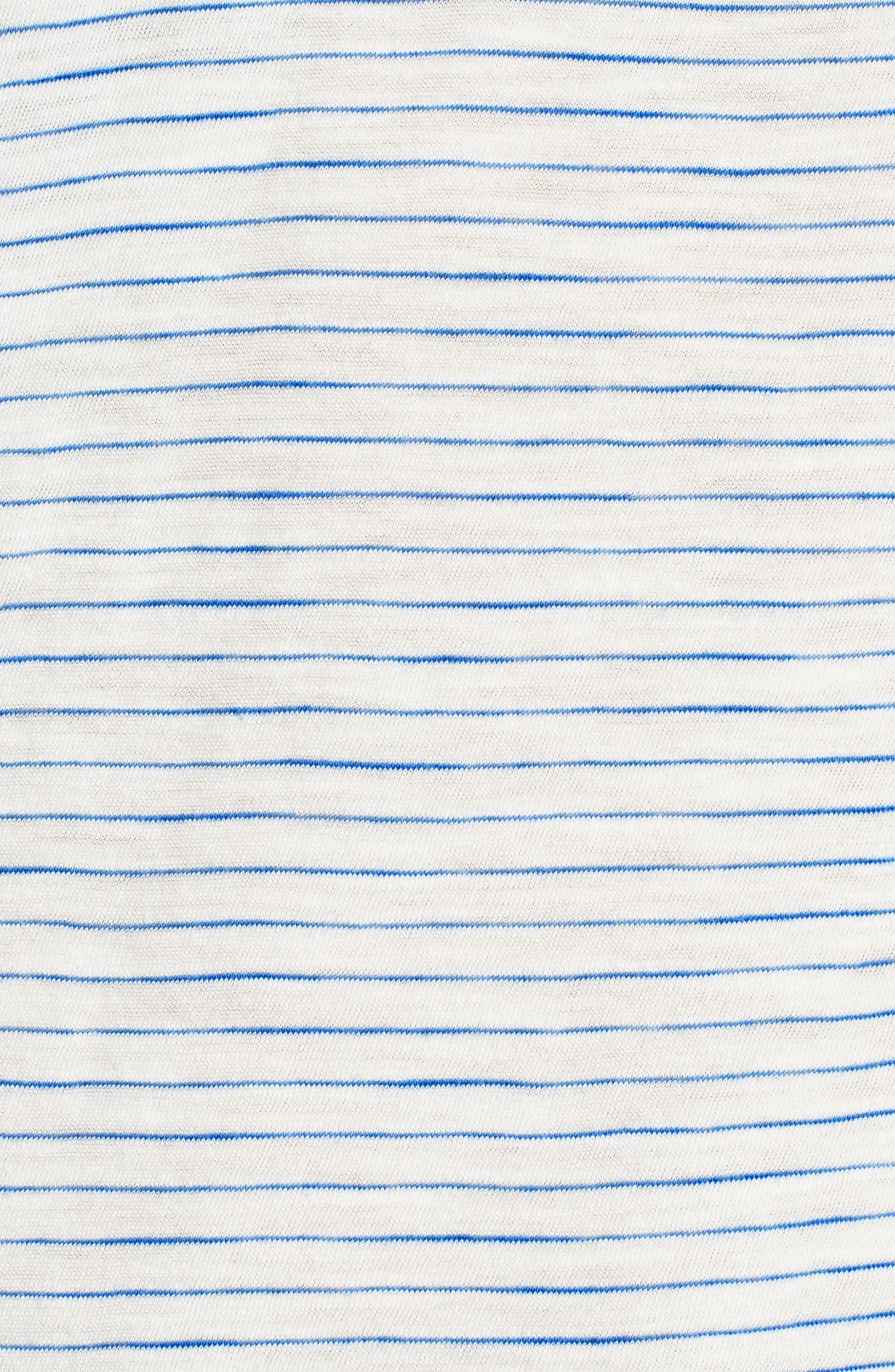 Whisper Cotton Stripe V-Neck Tee,                             Alternate thumbnail 6, color,                             BRIGHT IVORY