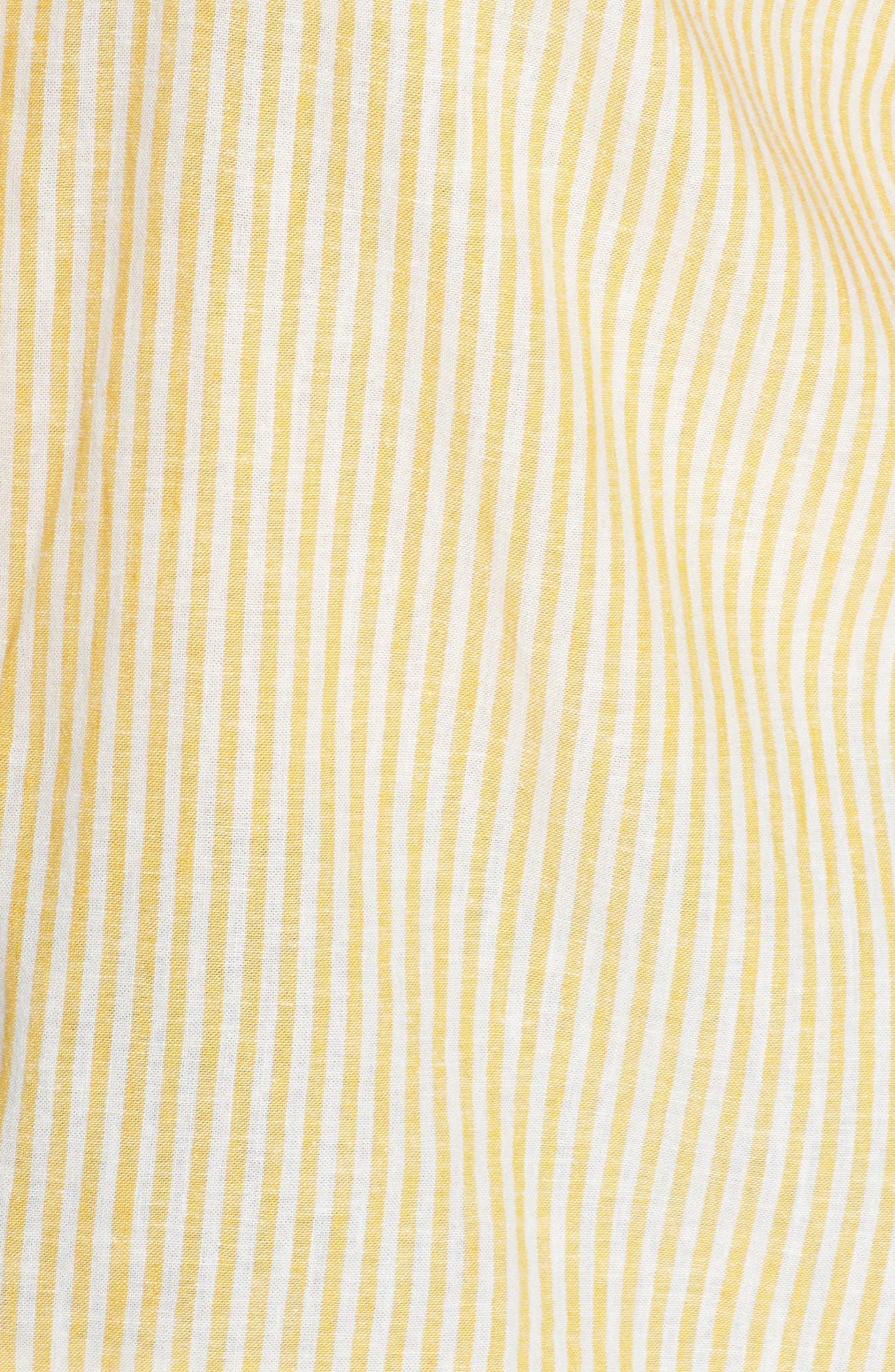 BP.,                             Button Front Linen Blend Top,                             Alternate thumbnail 11, color,                             YELLOW WHIP MARA STRIPE