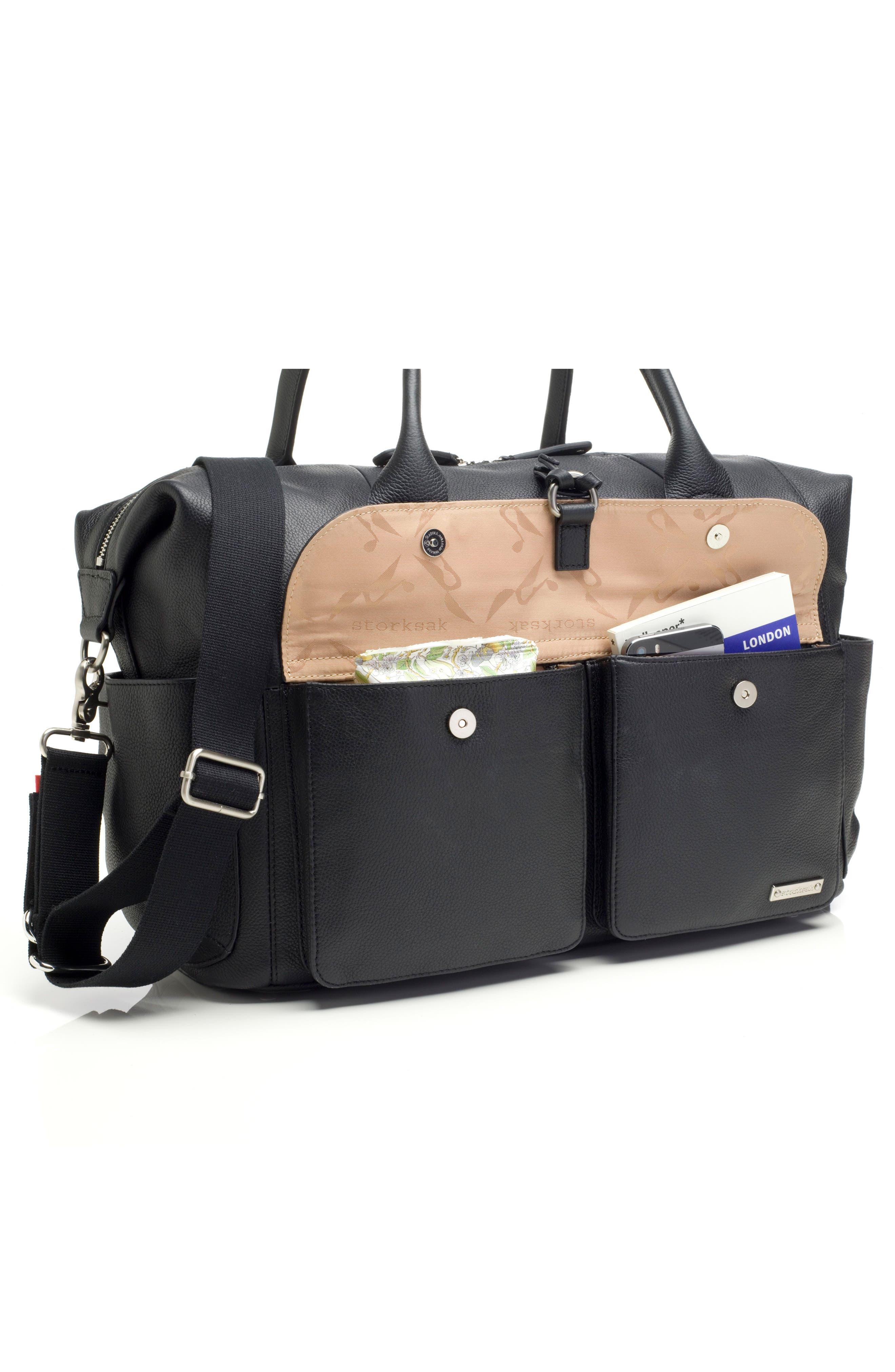 Storsak Leather Diaper Bag,                             Alternate thumbnail 7, color,                             BLACK