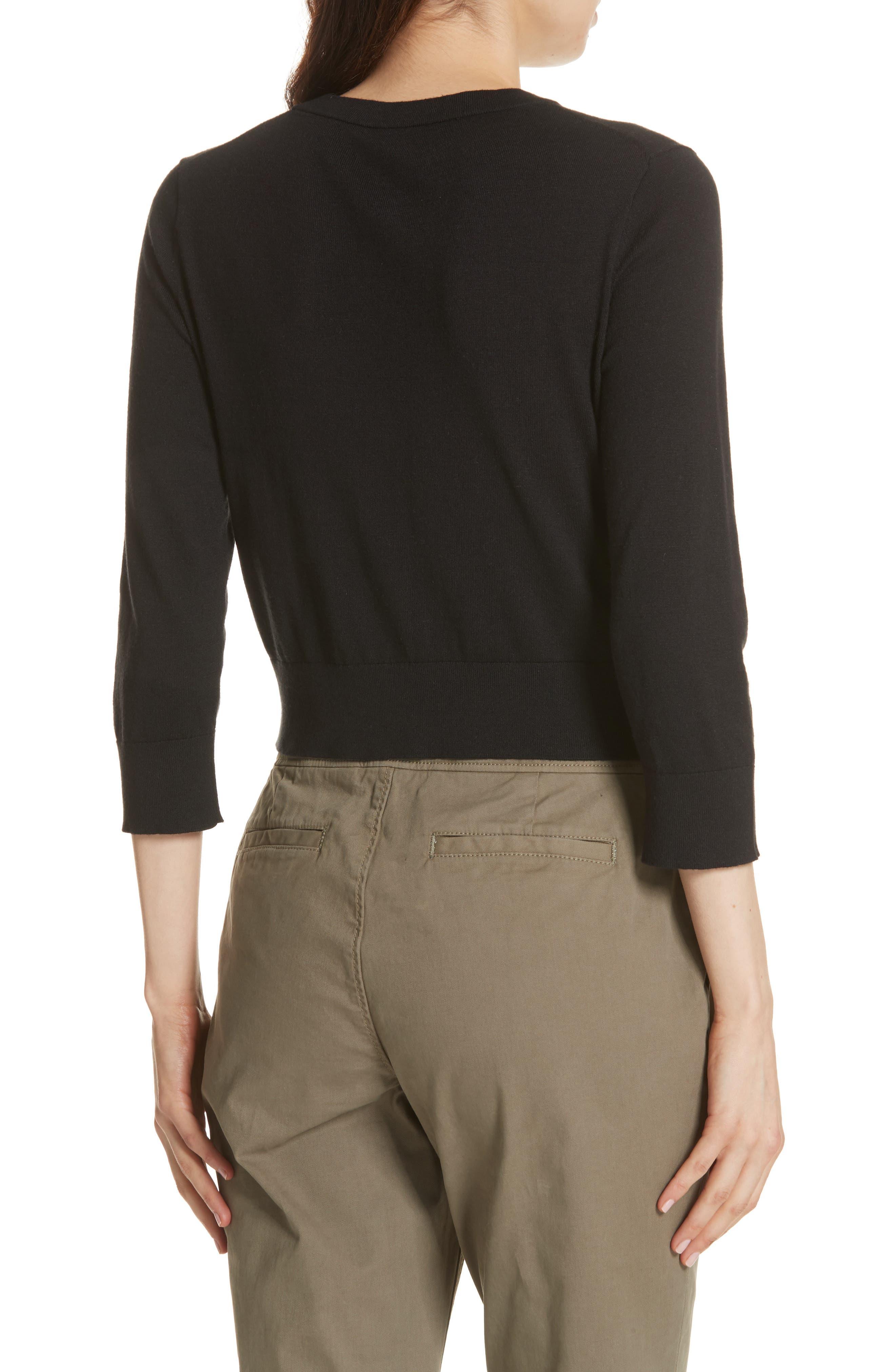 jewel button crop cardigan,                             Alternate thumbnail 2, color,                             BLACK