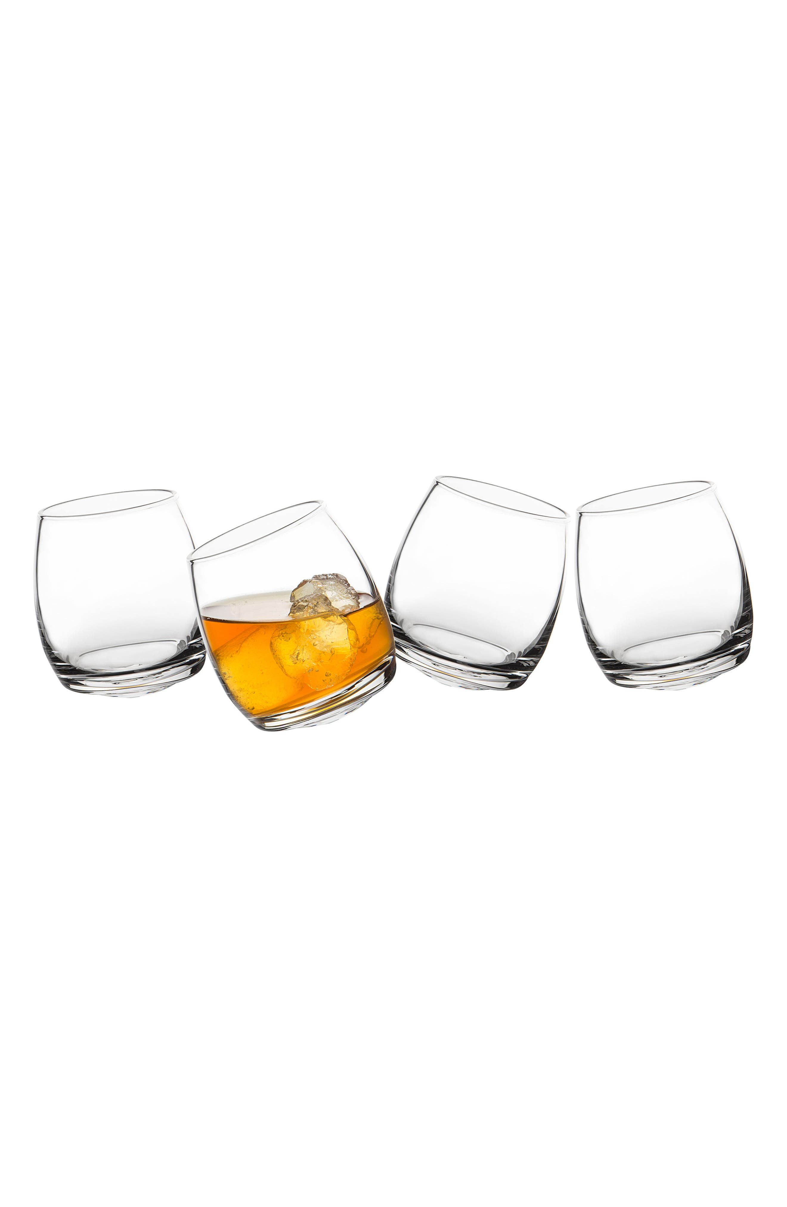 Monogram Tipsy Set of 4 Double Old Fashioned Glasses,                             Main thumbnail 1, color,                             WHITE