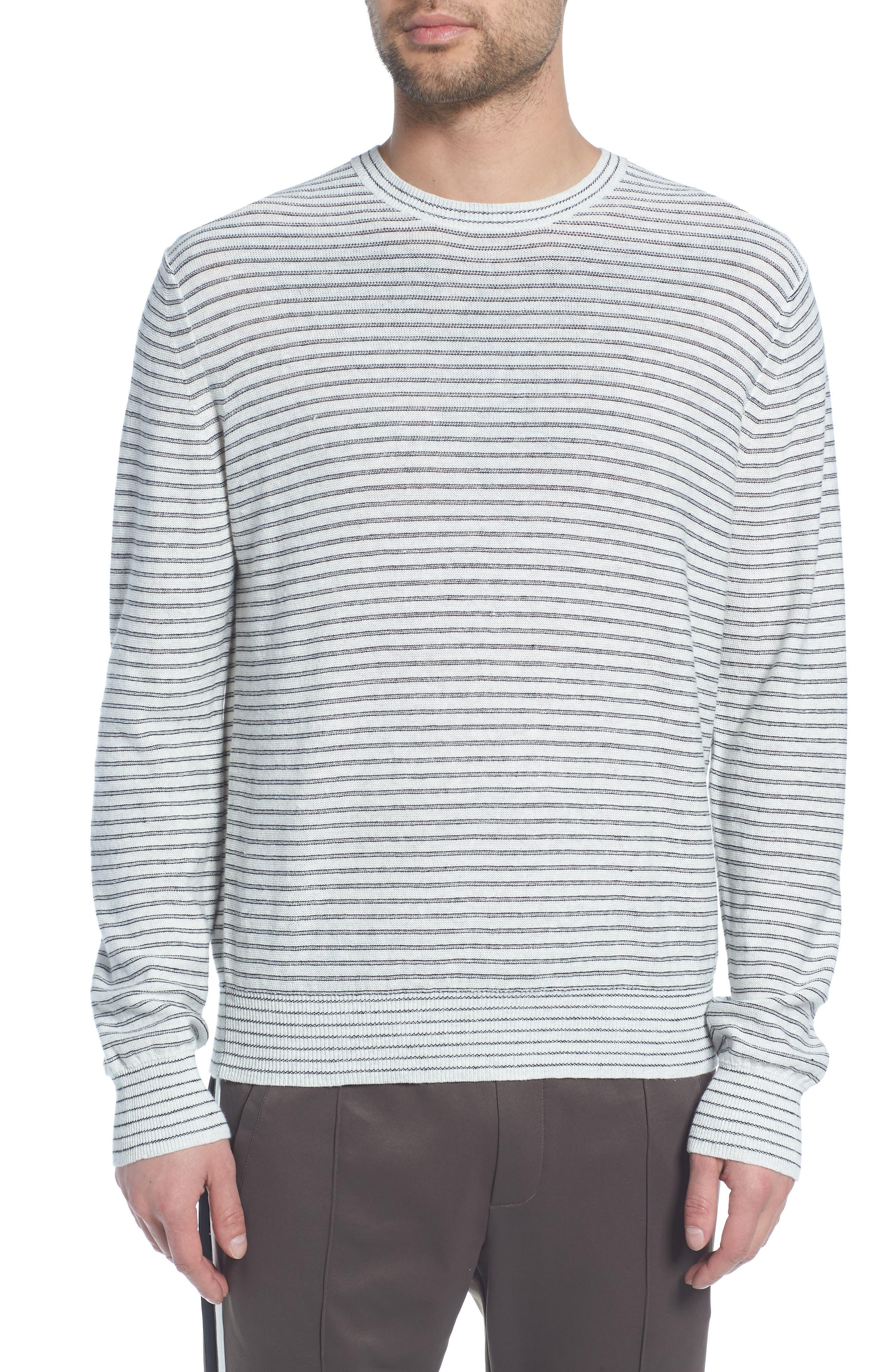 Stripe Long Sleeve Shirt,                         Main,                         color, H WHITE/ BLACK