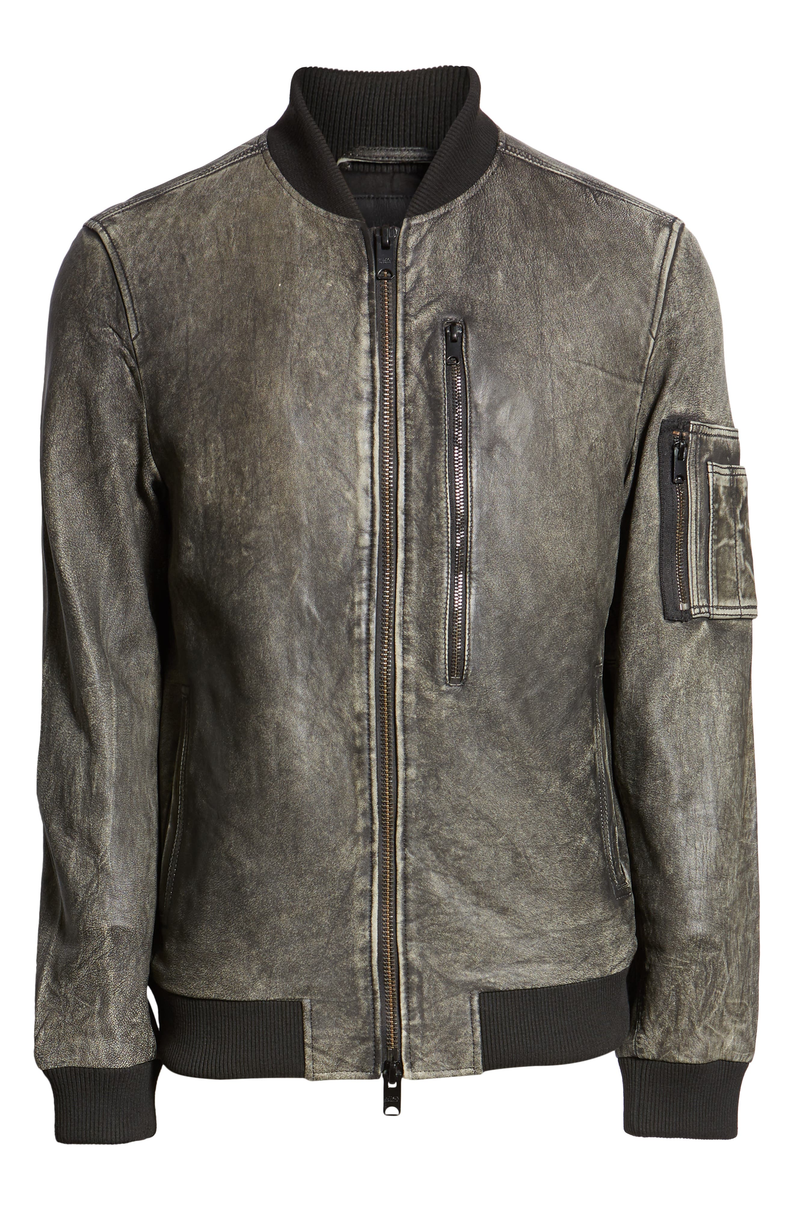 Hudson Leather Bomber Jacket,                             Alternate thumbnail 6, color,                             063
