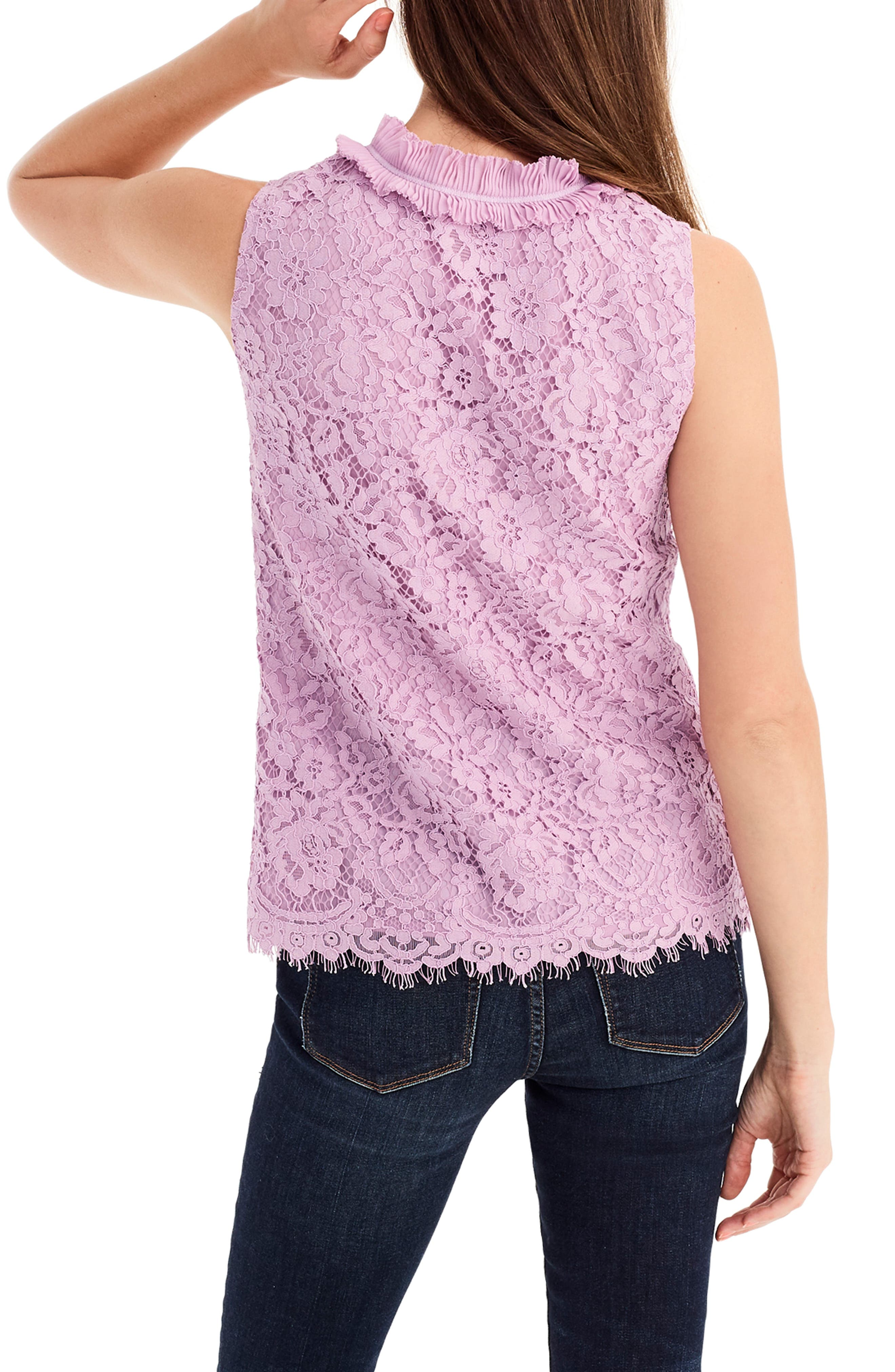 Lace Ruffle Neck Top,                             Alternate thumbnail 2, color,                             VIVID LILAC
