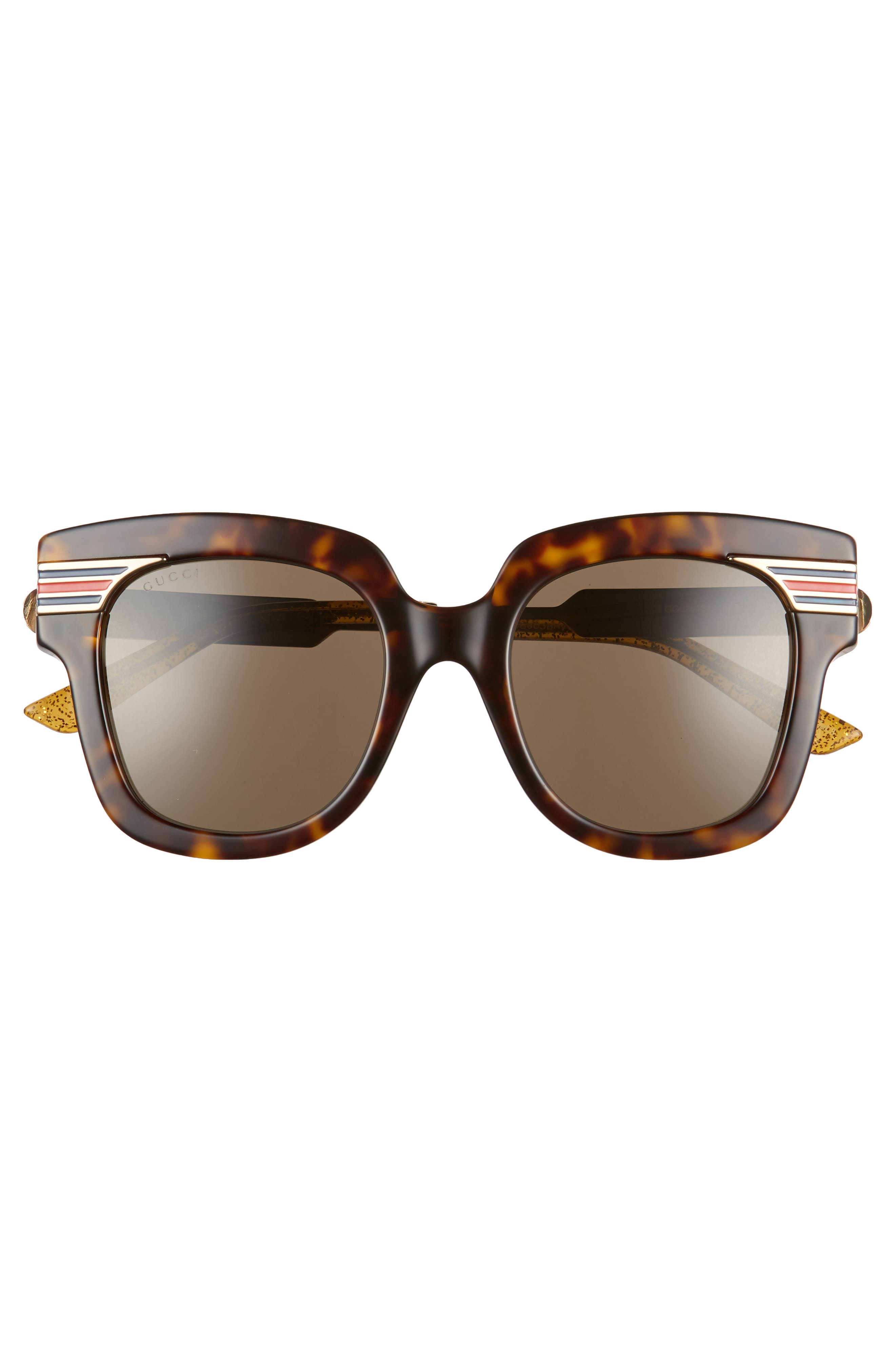 51mm Cat Eye Sunglasses,                             Alternate thumbnail 3, color,                             DARK HAVANA/ GOLD