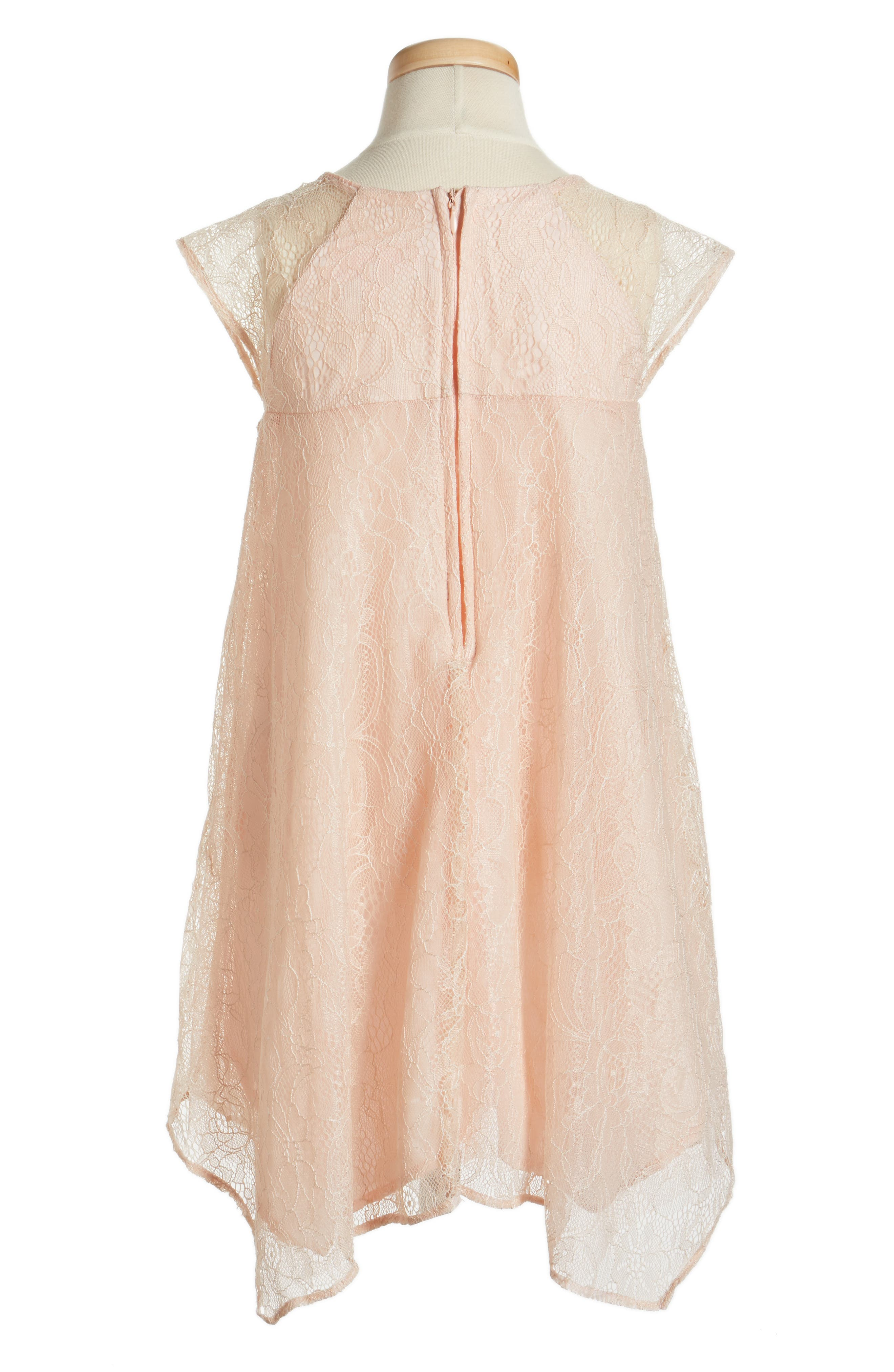 Lace Shift Dress,                             Alternate thumbnail 2, color,                             PEACH