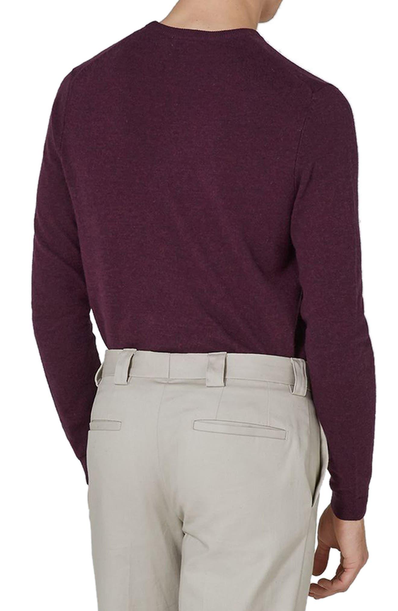 Crewneck Sweater,                             Alternate thumbnail 2, color,                             BURGUNDY