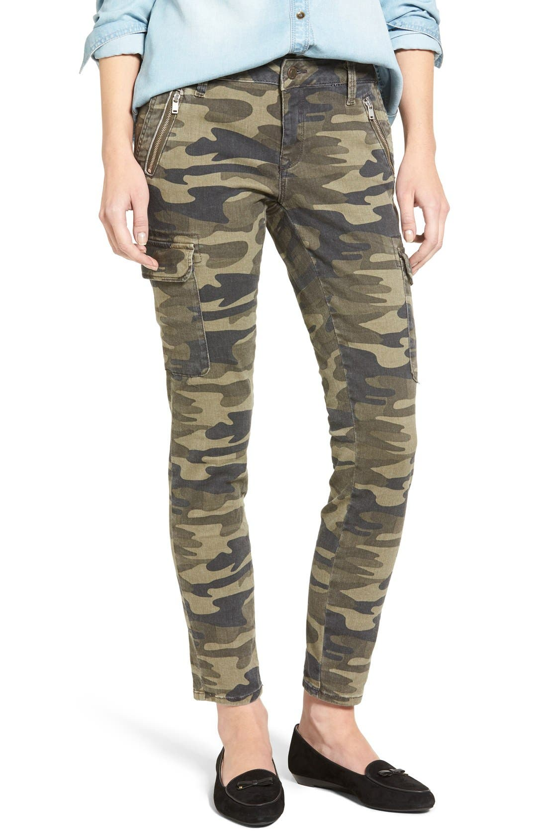 Juliette Camo Print Military Cargo Pants,                             Main thumbnail 1, color,                             MILITARY CAMOUFLAGE