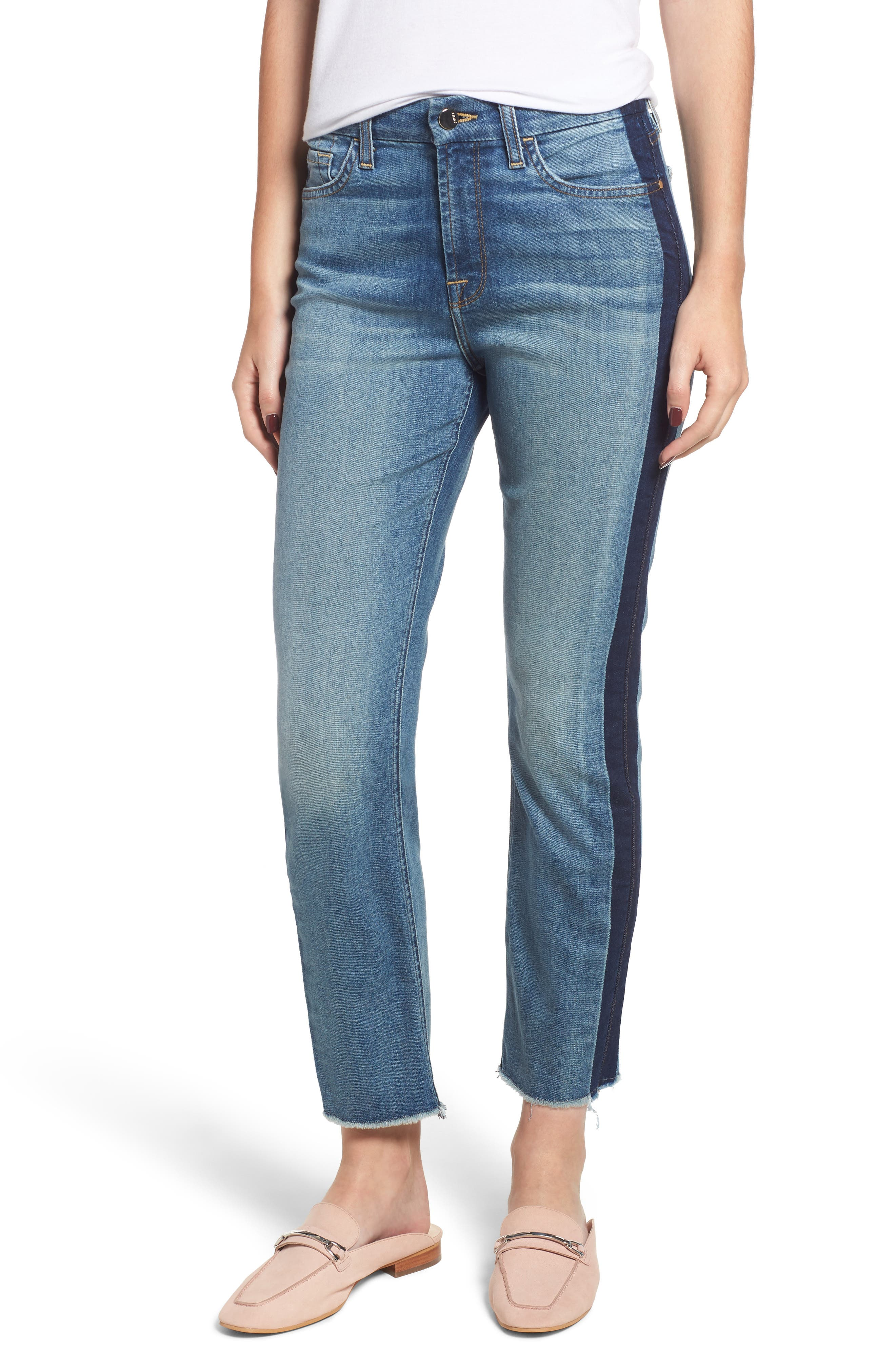 JEN7 BY 7 FOR ALL MANKIND Straight-Leg Crop Jeans W/ Shadow Seams in Authentic Light Brooklyn
