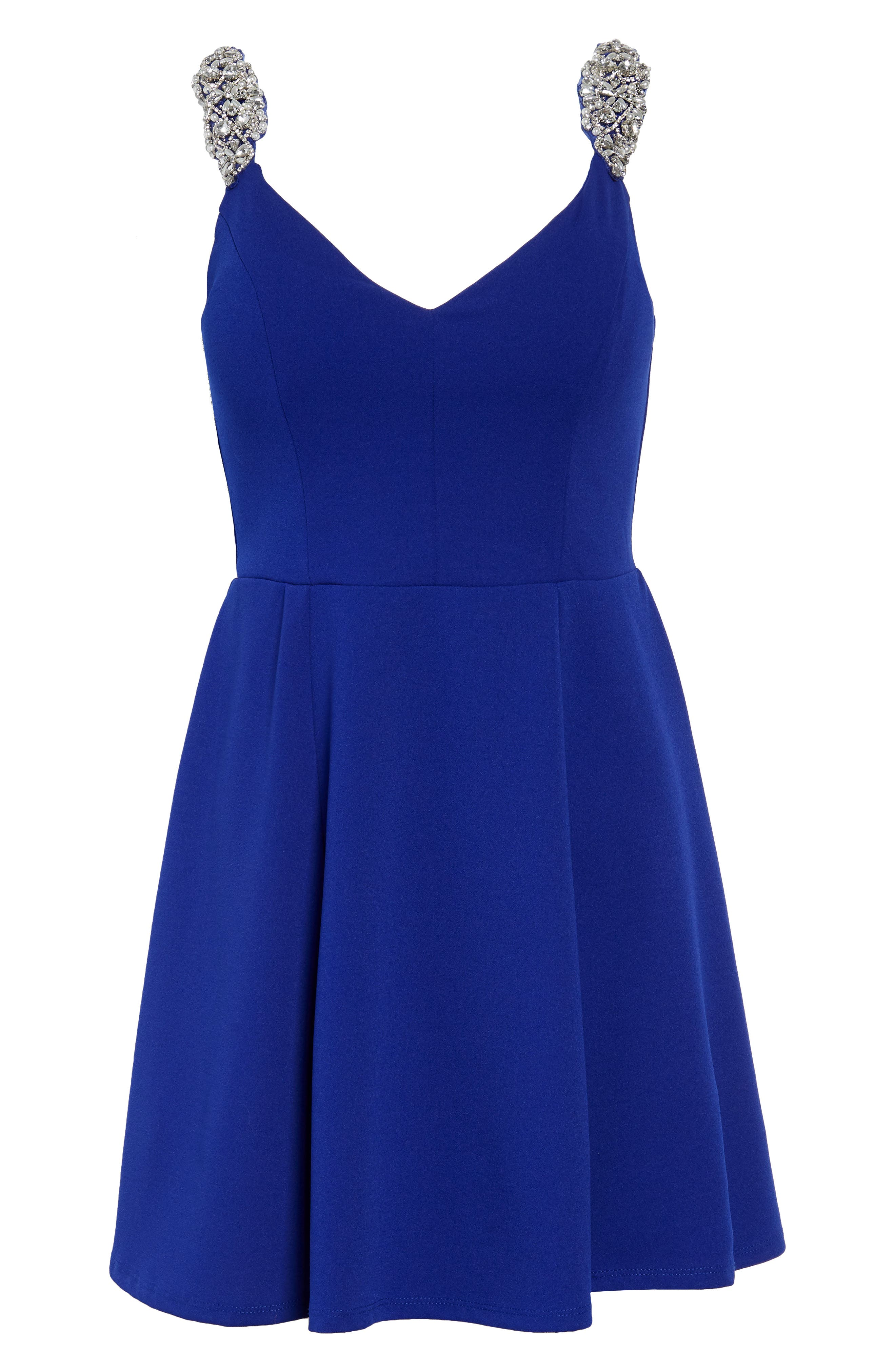 Jewel Strap Skater Dress,                             Alternate thumbnail 7, color,                             ROYAL