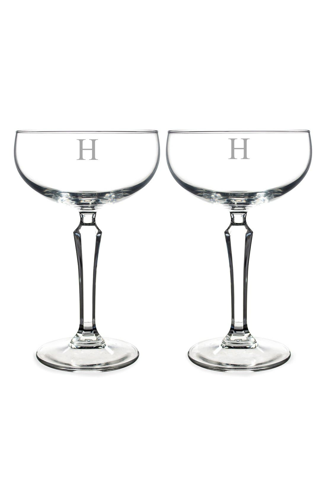 Monogram Coupe Cocktail/Champagne Glasses,                             Main thumbnail 10, color,