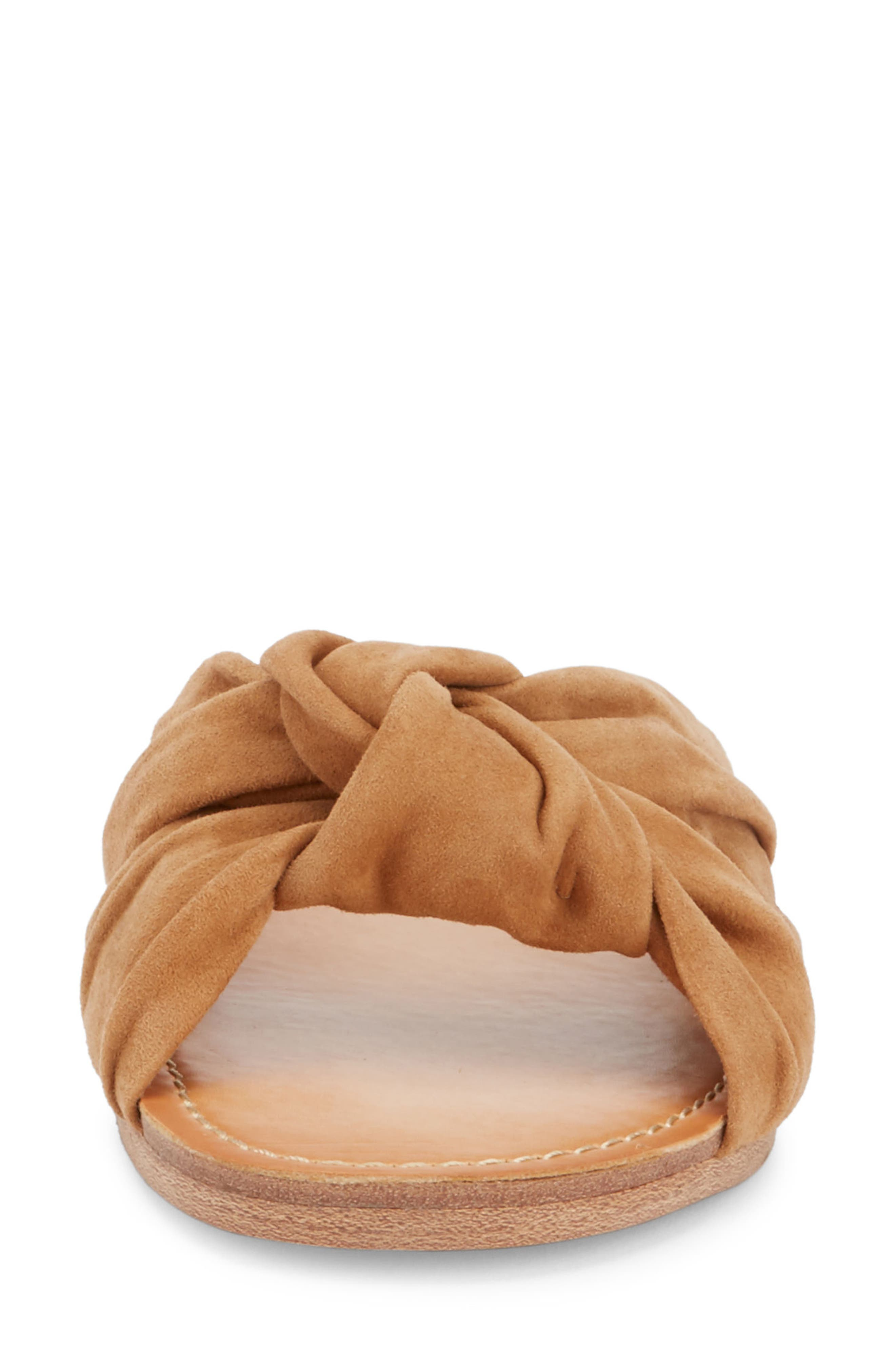 Sophie Knotted Bow Sandal,                             Alternate thumbnail 4, color,                             TAN SUEDE