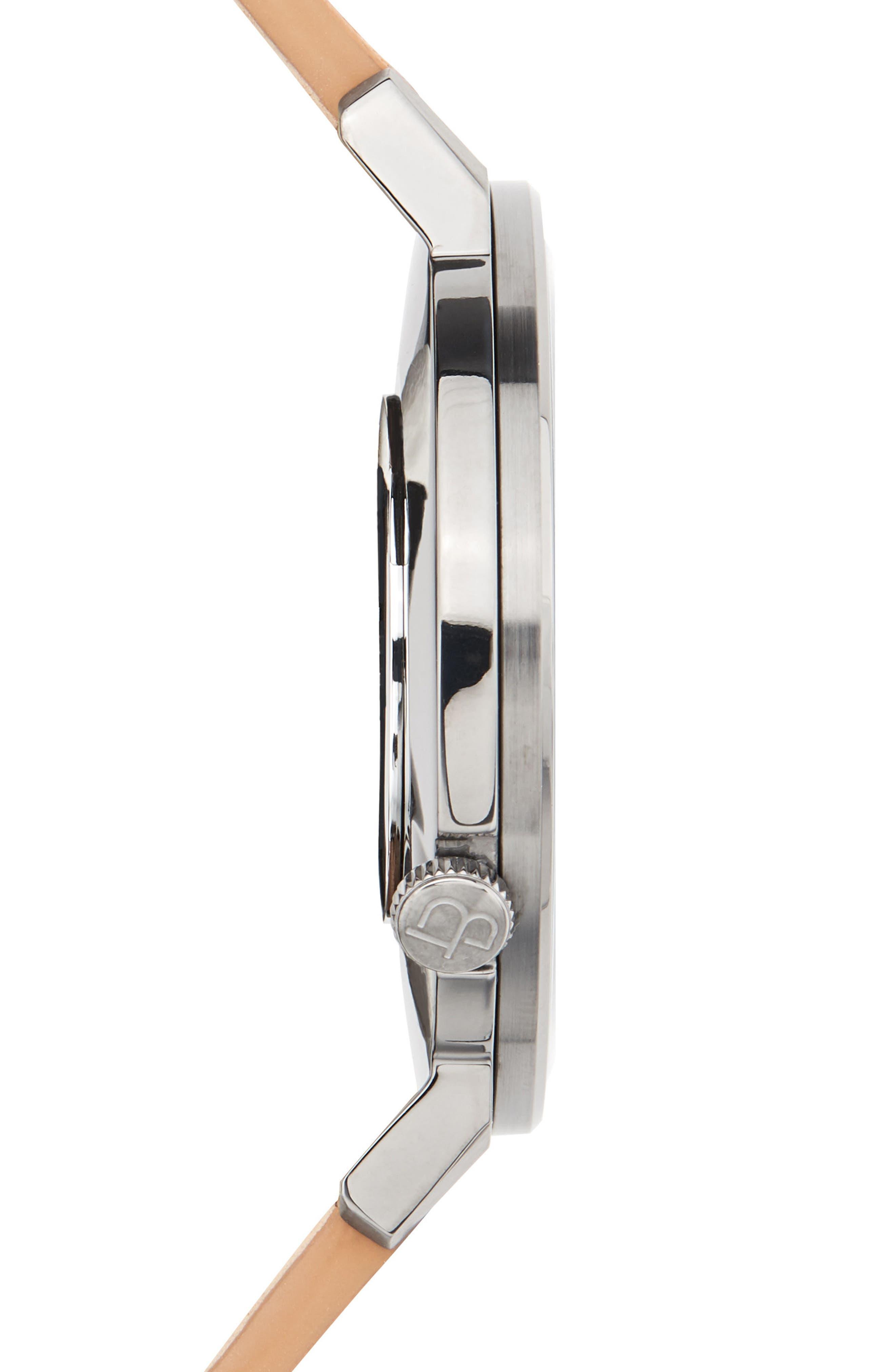 Davis Slim Leather Strap Watch, 44mm,                             Alternate thumbnail 3, color,                             250
