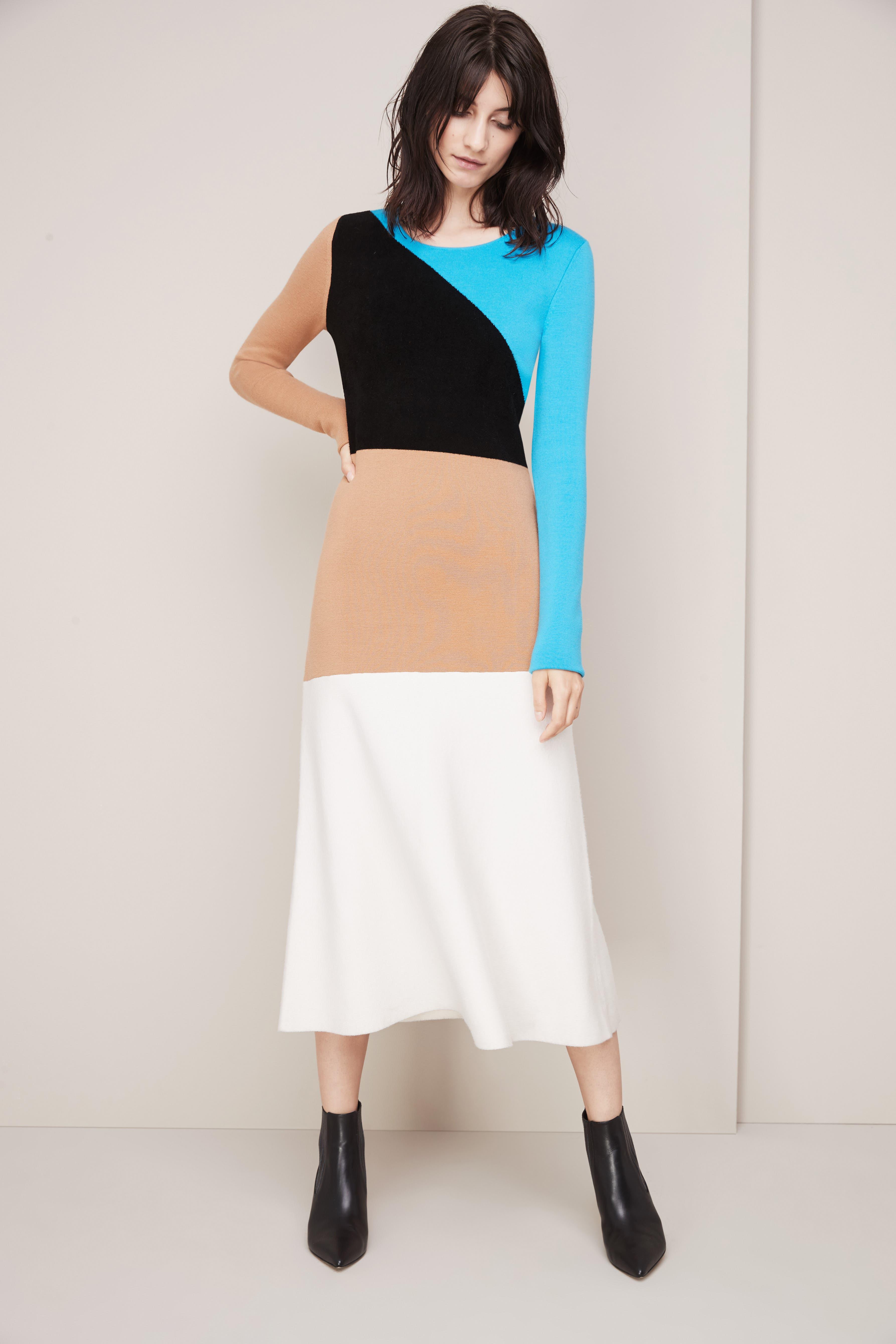 Crewneck Flare Knit Dress,                             Alternate thumbnail 6, color,                             252