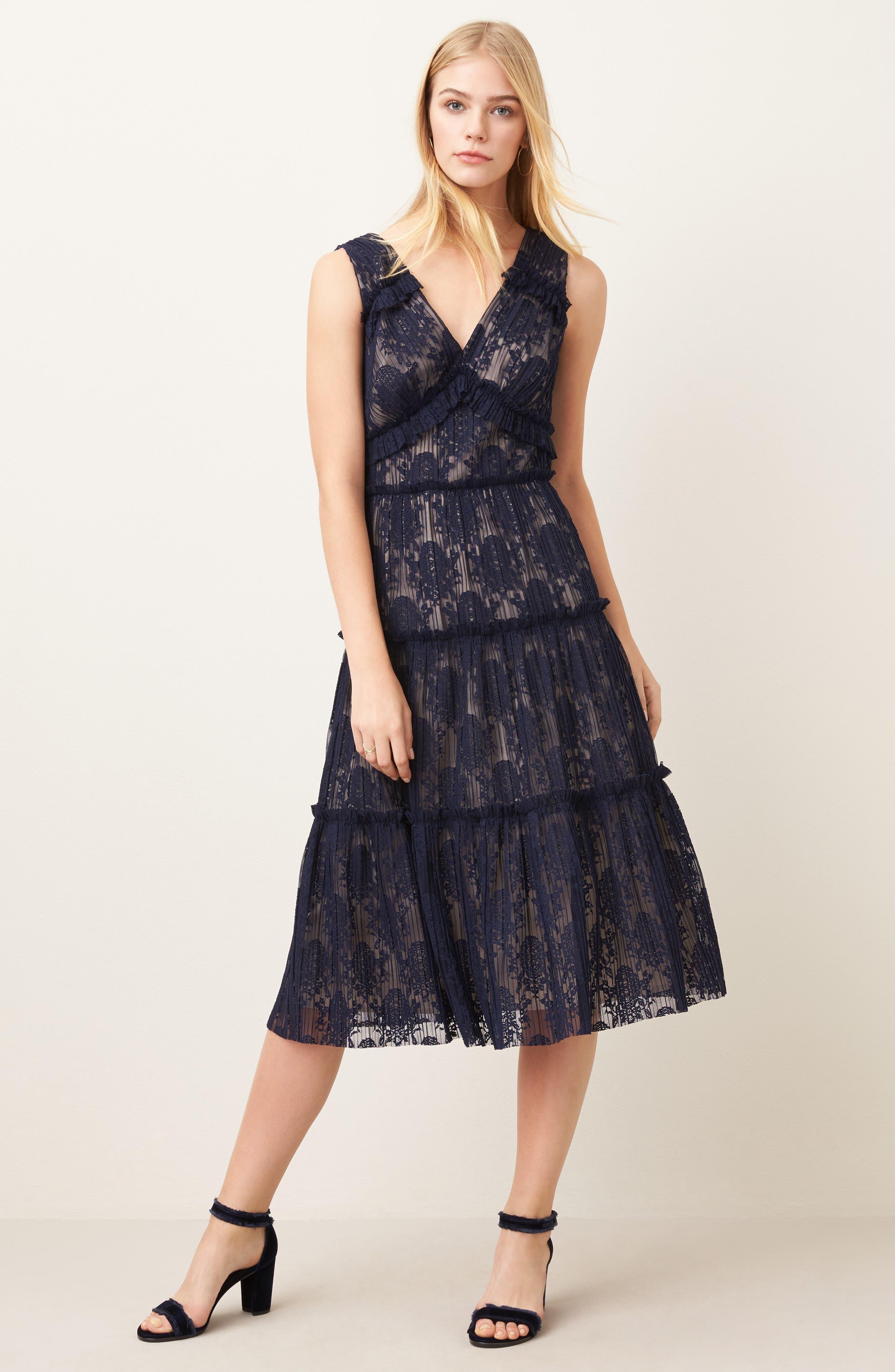 Lace Midi Dress,                             Alternate thumbnail 7, color,                             402