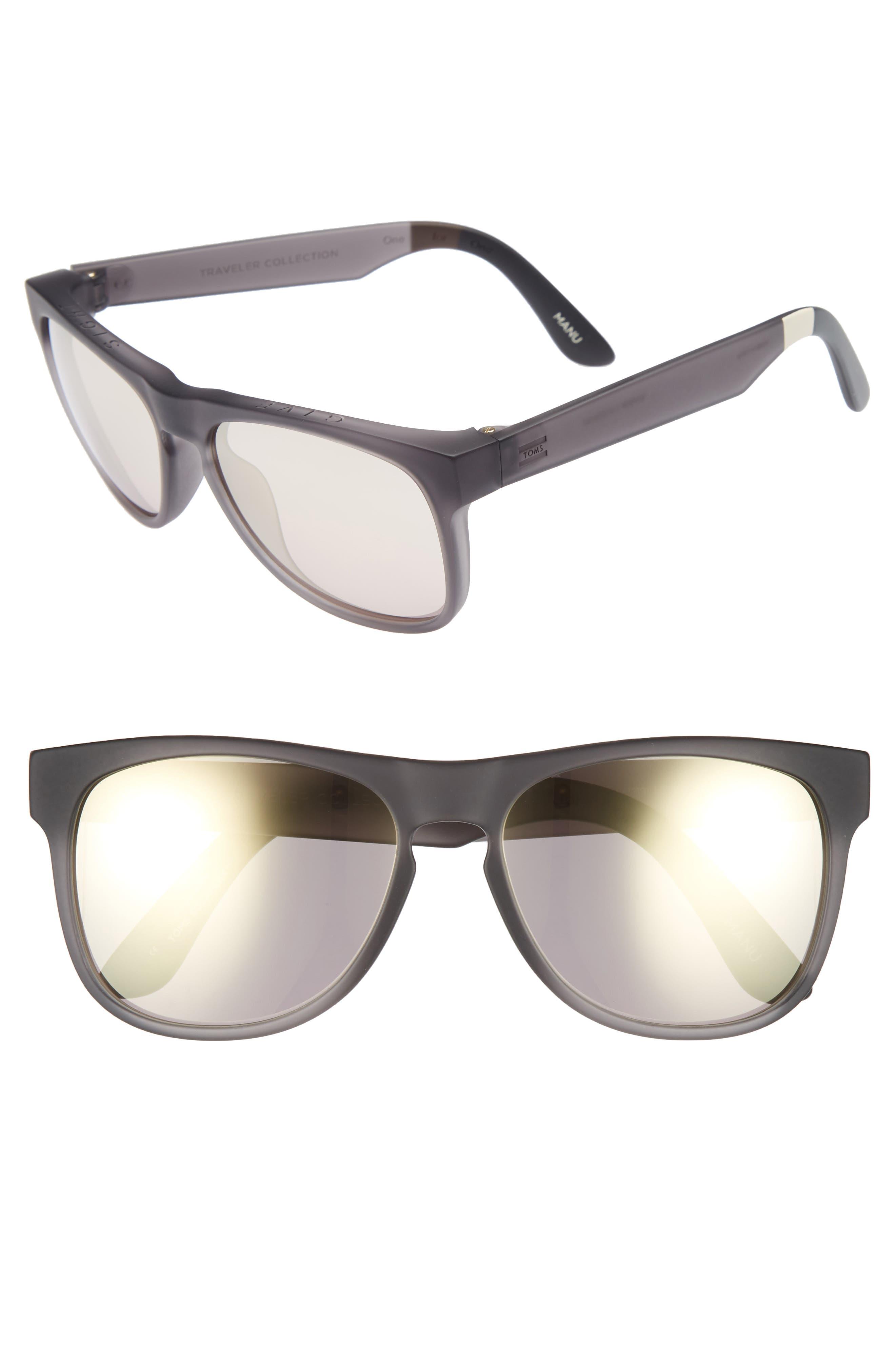 Manu 57mm Sunglasses,                             Main thumbnail 1, color,                             PEWTER