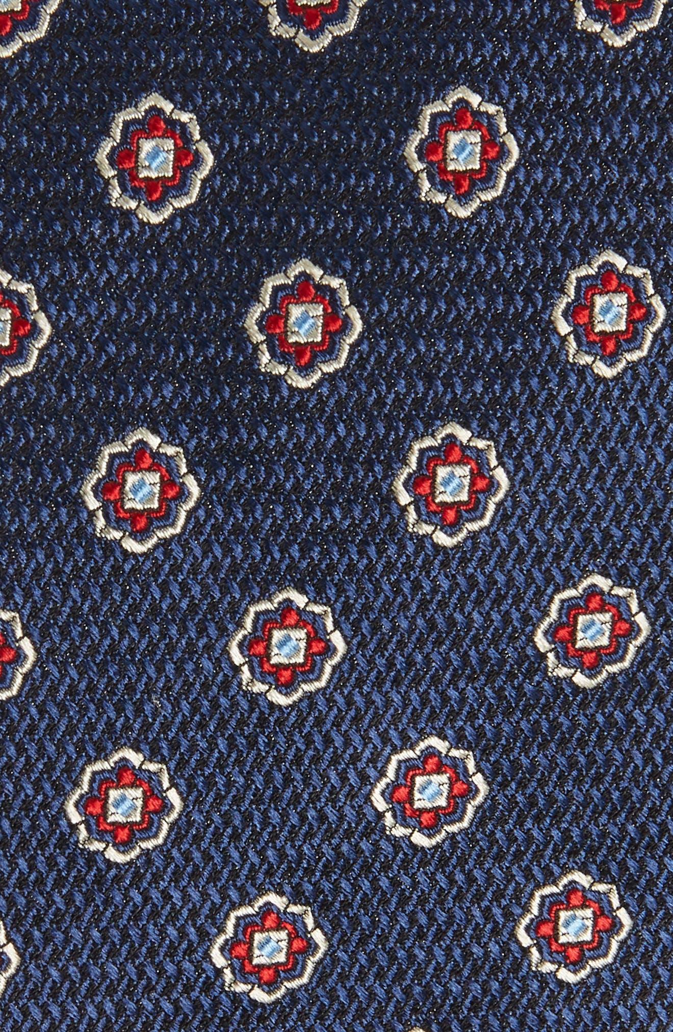 Medallion Silk Tie,                             Alternate thumbnail 2, color,                             NAVY