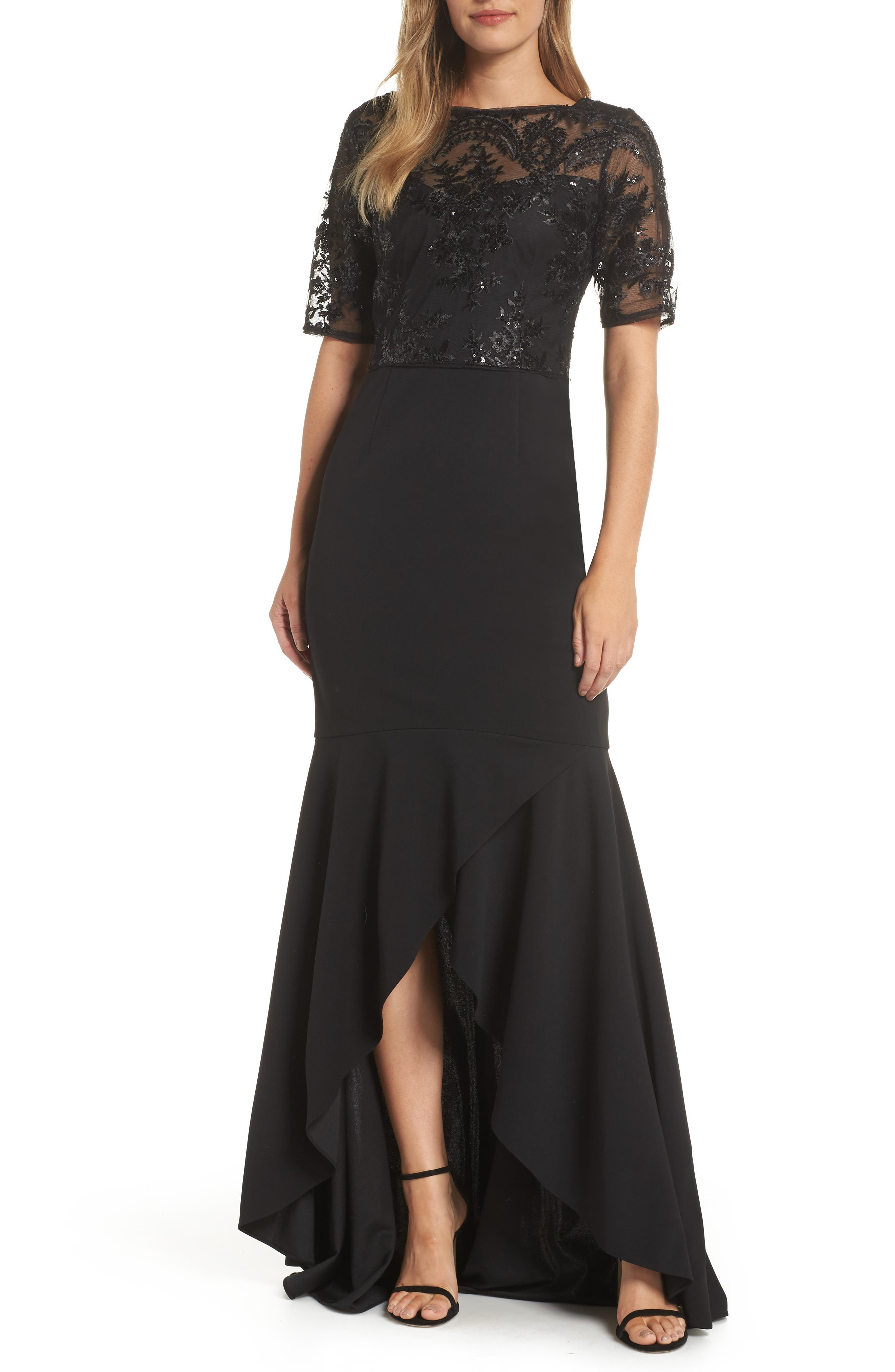 Adrianna Papell Sequin High/low Gown, Black