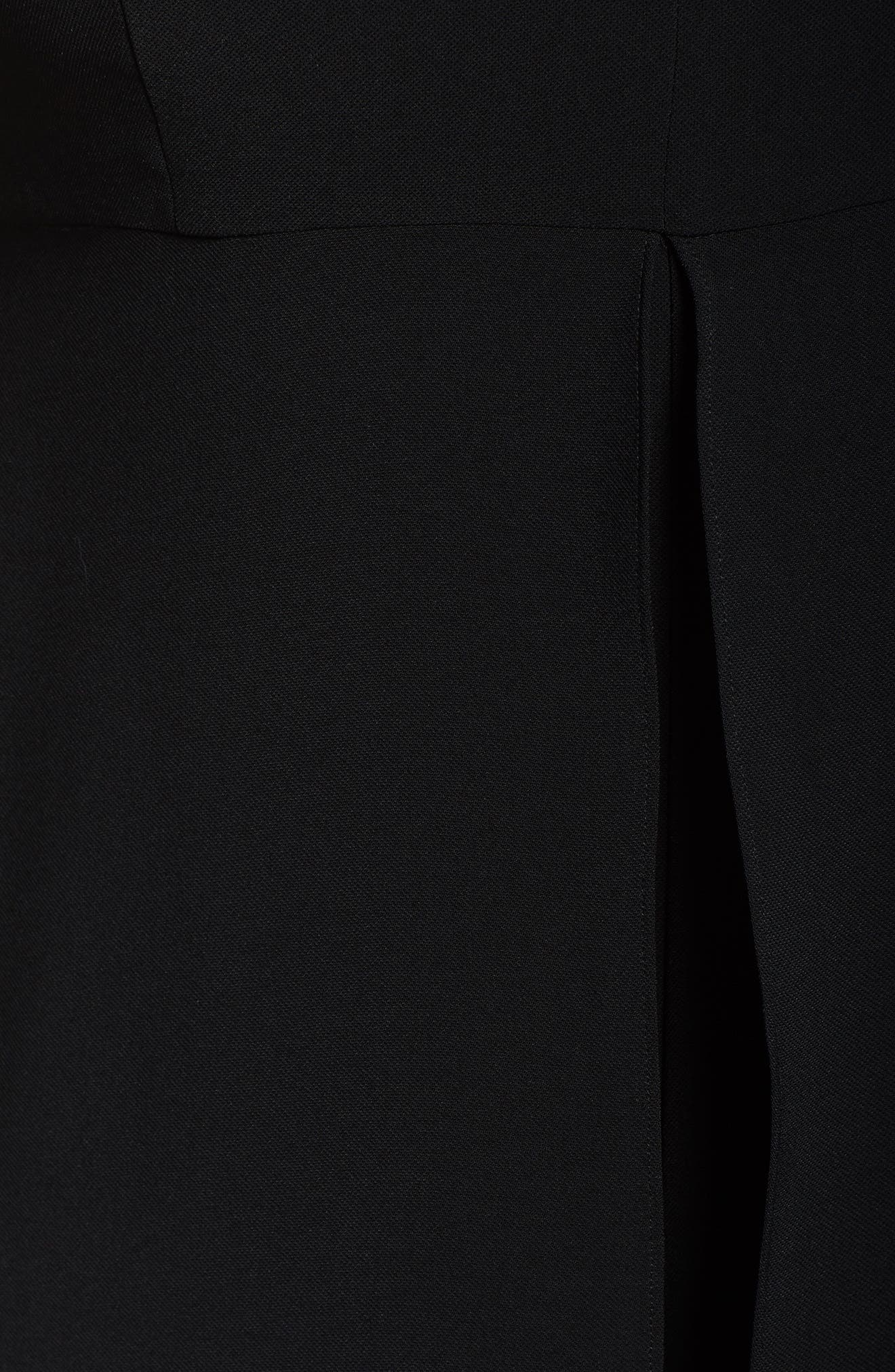 V-Neck Chiffon Overlay Jumpsuit,                             Alternate thumbnail 5, color,                             BLACK
