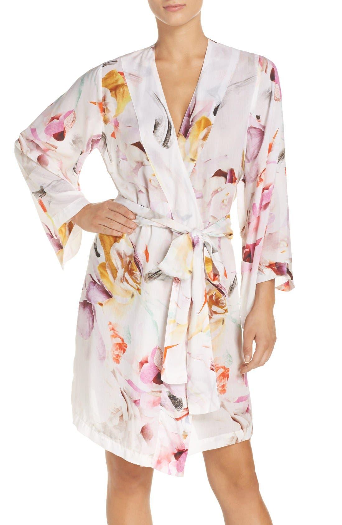 Floral Print Kimono Robe,                             Main thumbnail 1, color,                             100