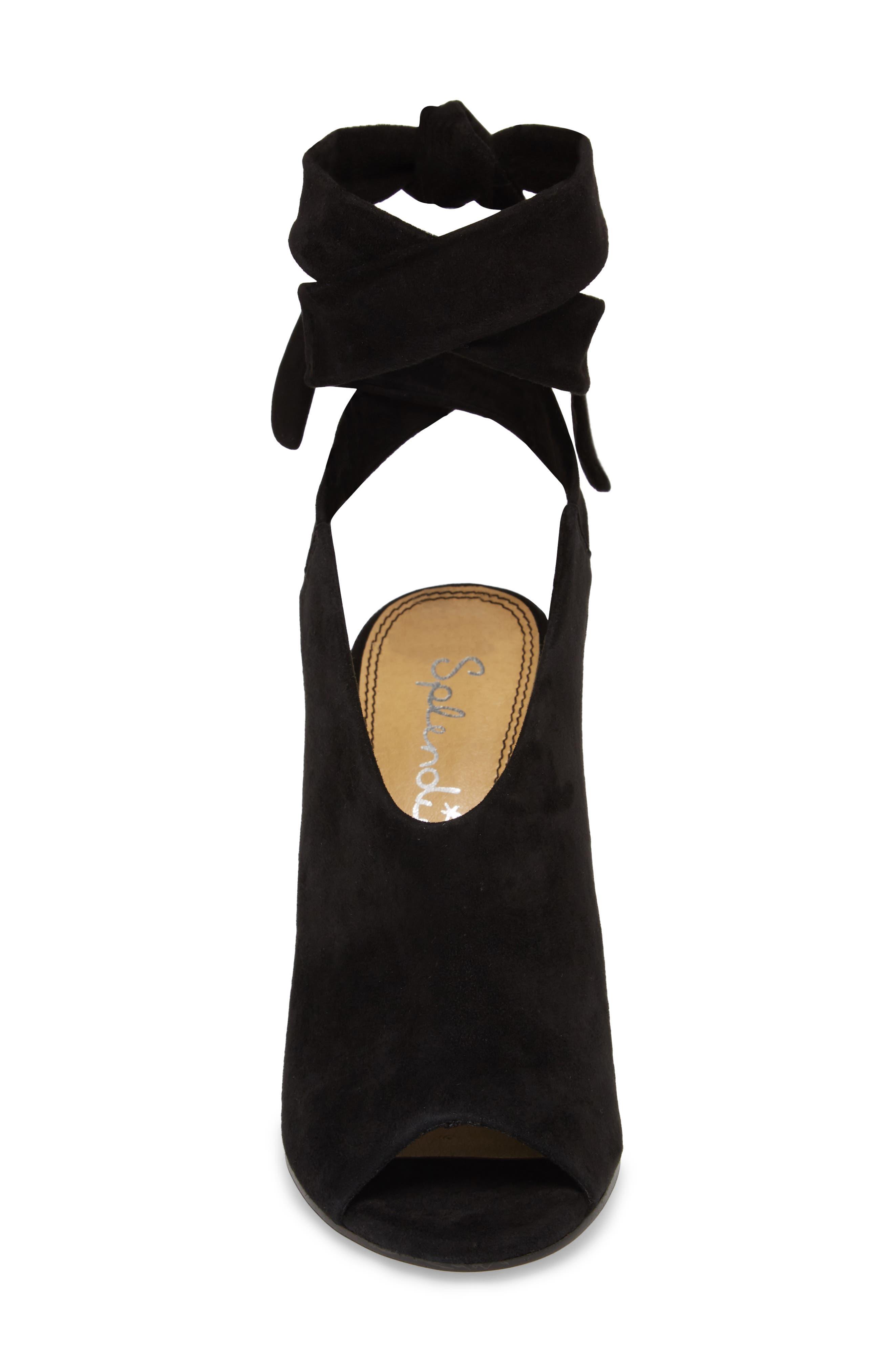 Navarro Ankle Wrap Sandal,                             Alternate thumbnail 4, color,                             BLACK SUEDE