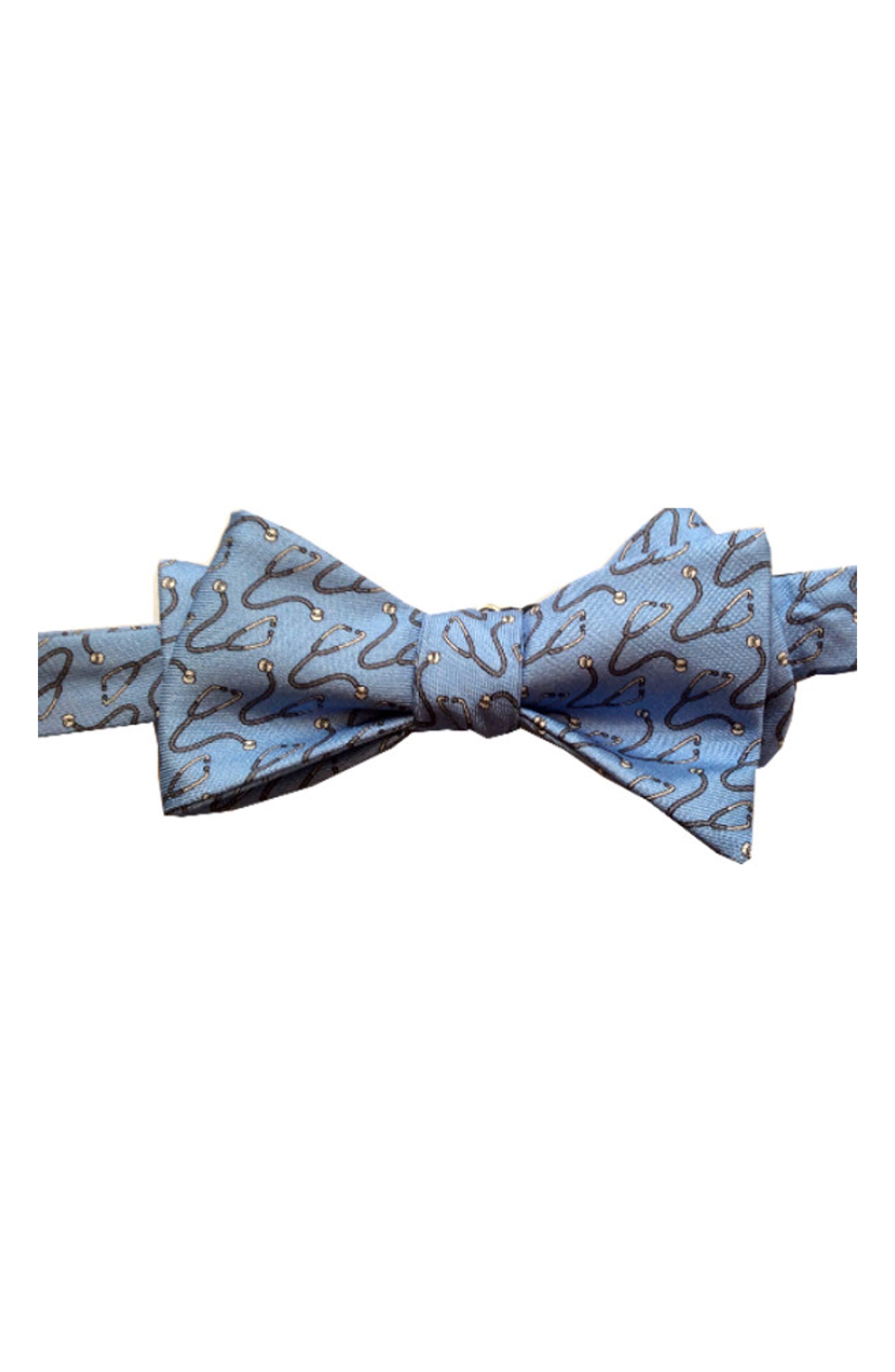 Doctor Silk Bow Tie,                         Main,                         color, LIGHT BLUE