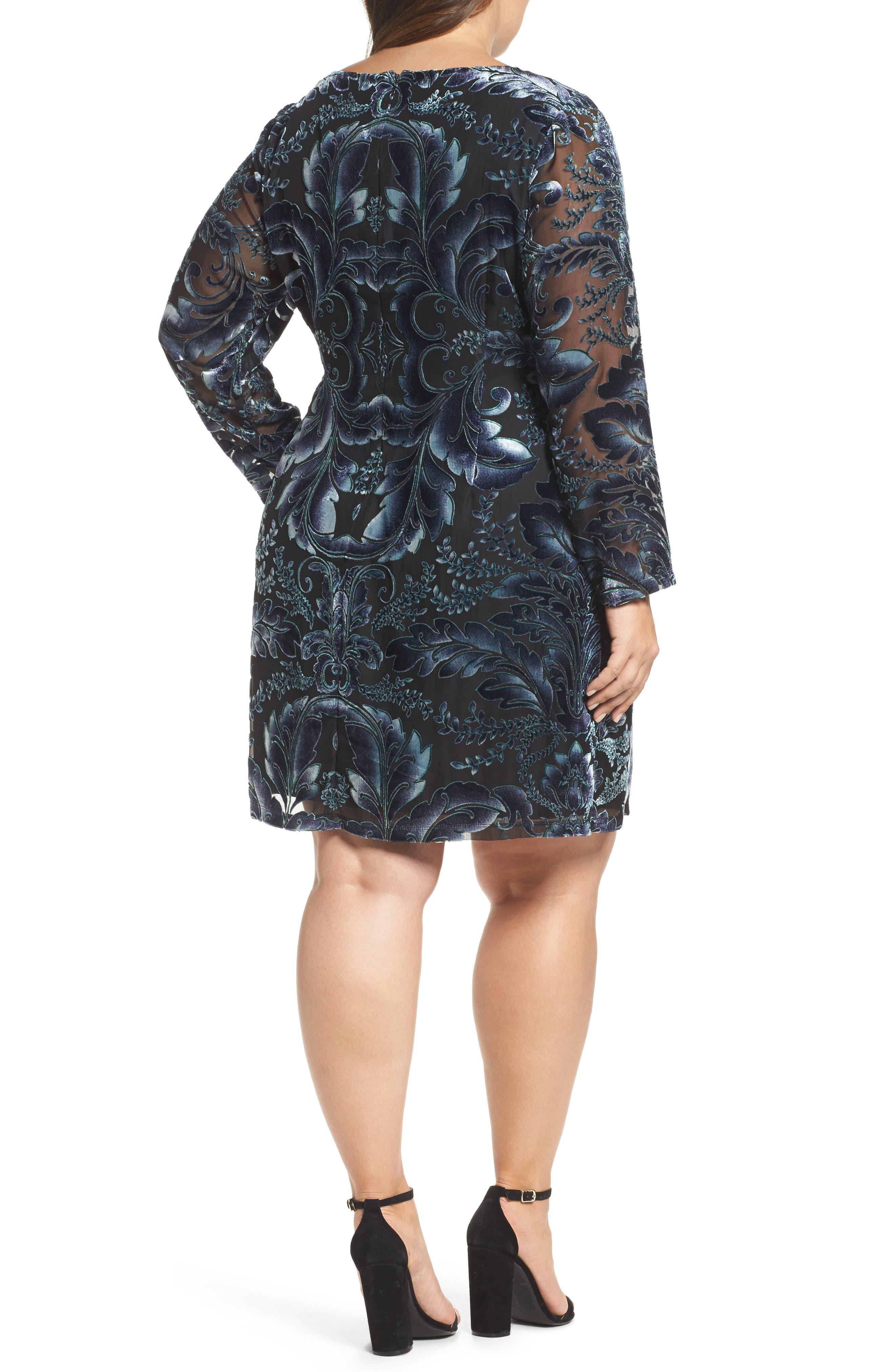 Burnout Velvet Sheath Dress,                             Alternate thumbnail 2, color,                             004