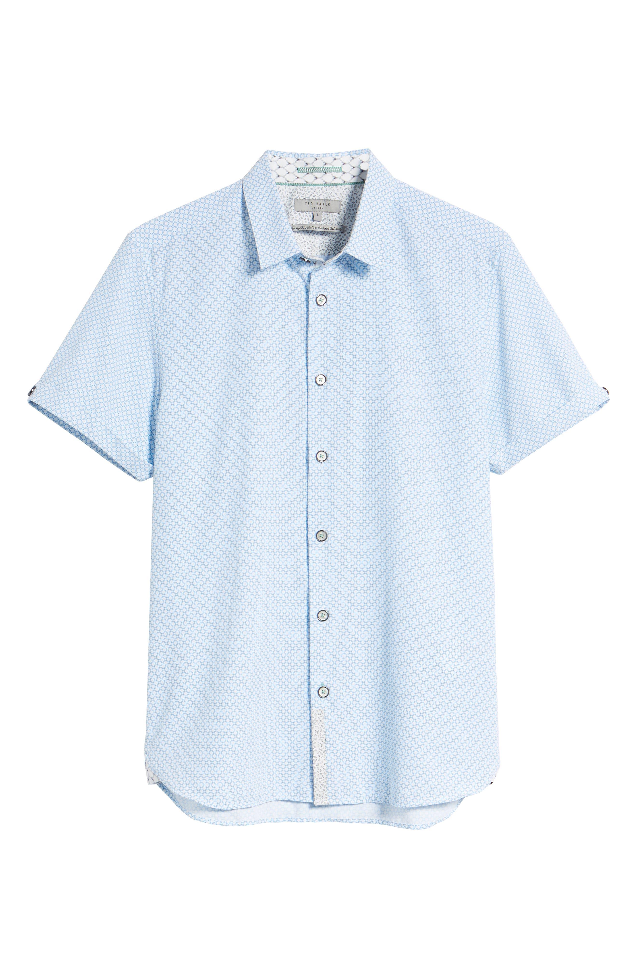 Slim Fit Short Sleeve Sport Shirt,                             Alternate thumbnail 6, color,                             WHITE