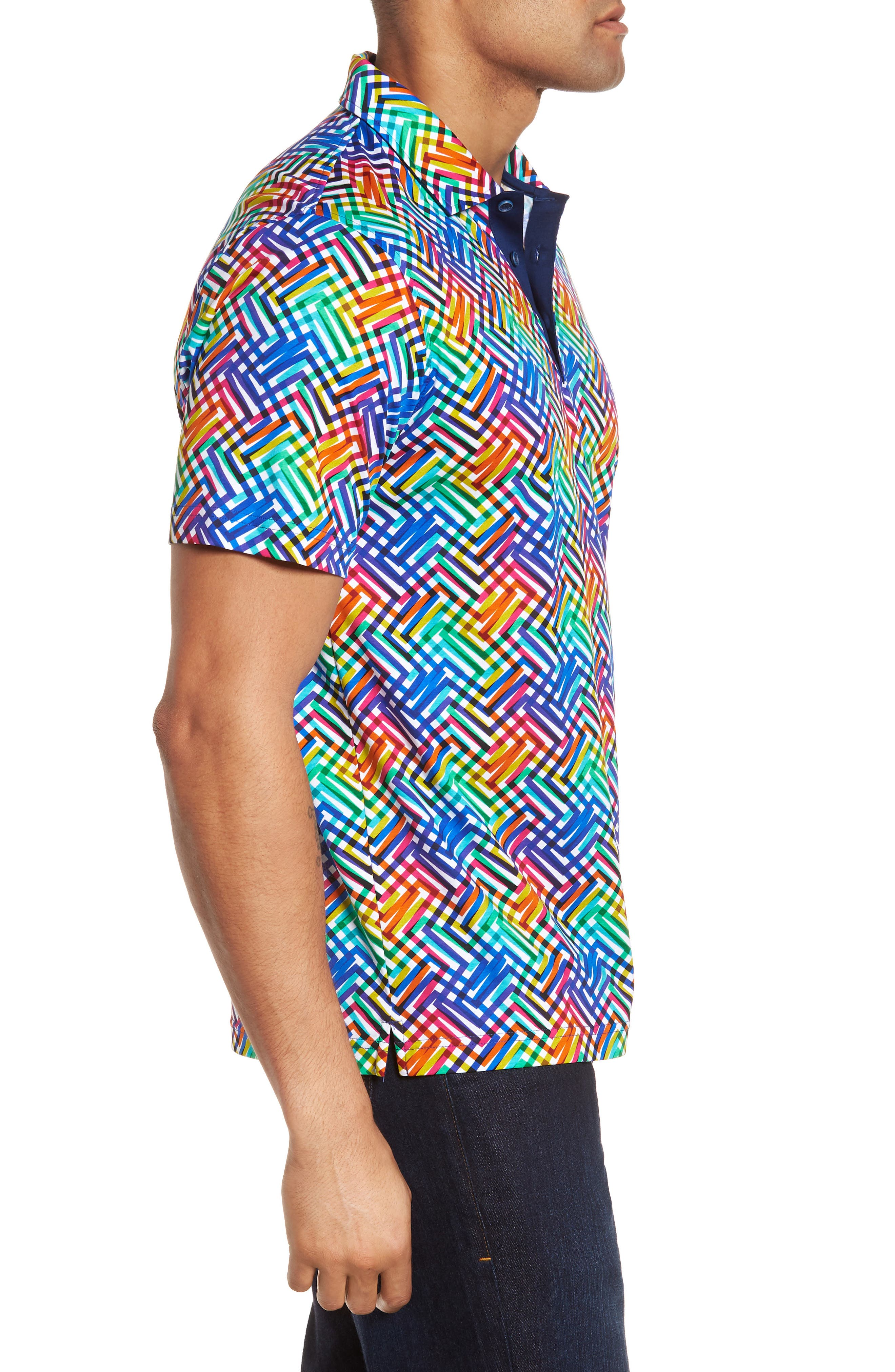 BUGATCHI,                             Regular Fit Knit Polo,                             Alternate thumbnail 3, color,                             CANDY