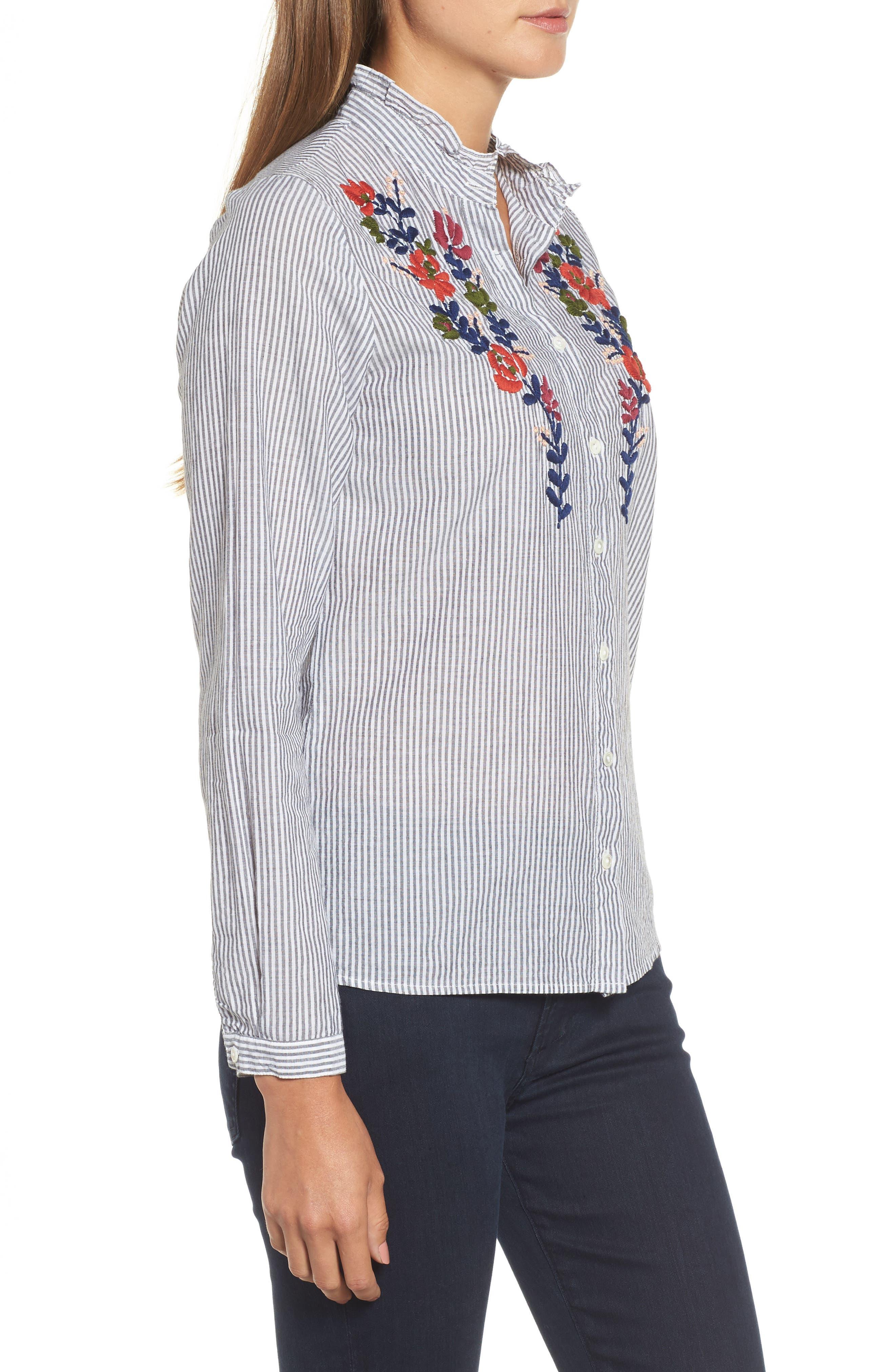 Velvet Embroidered Stripe Shirt,                             Alternate thumbnail 3, color,                             960