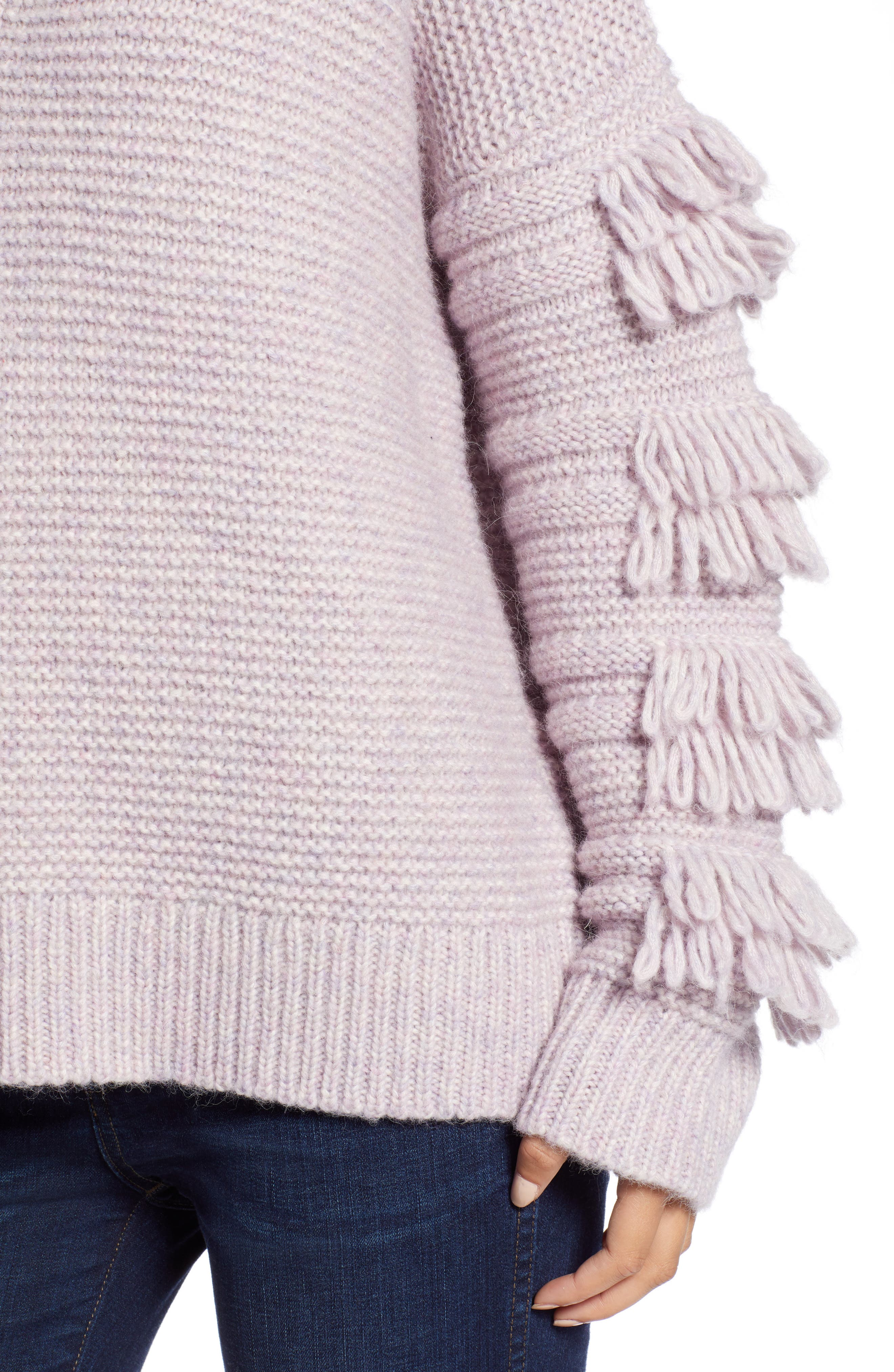 Fringe Sleeve Pullover Sweater,                             Alternate thumbnail 4, color,                             HEATHER PERIWINKLE