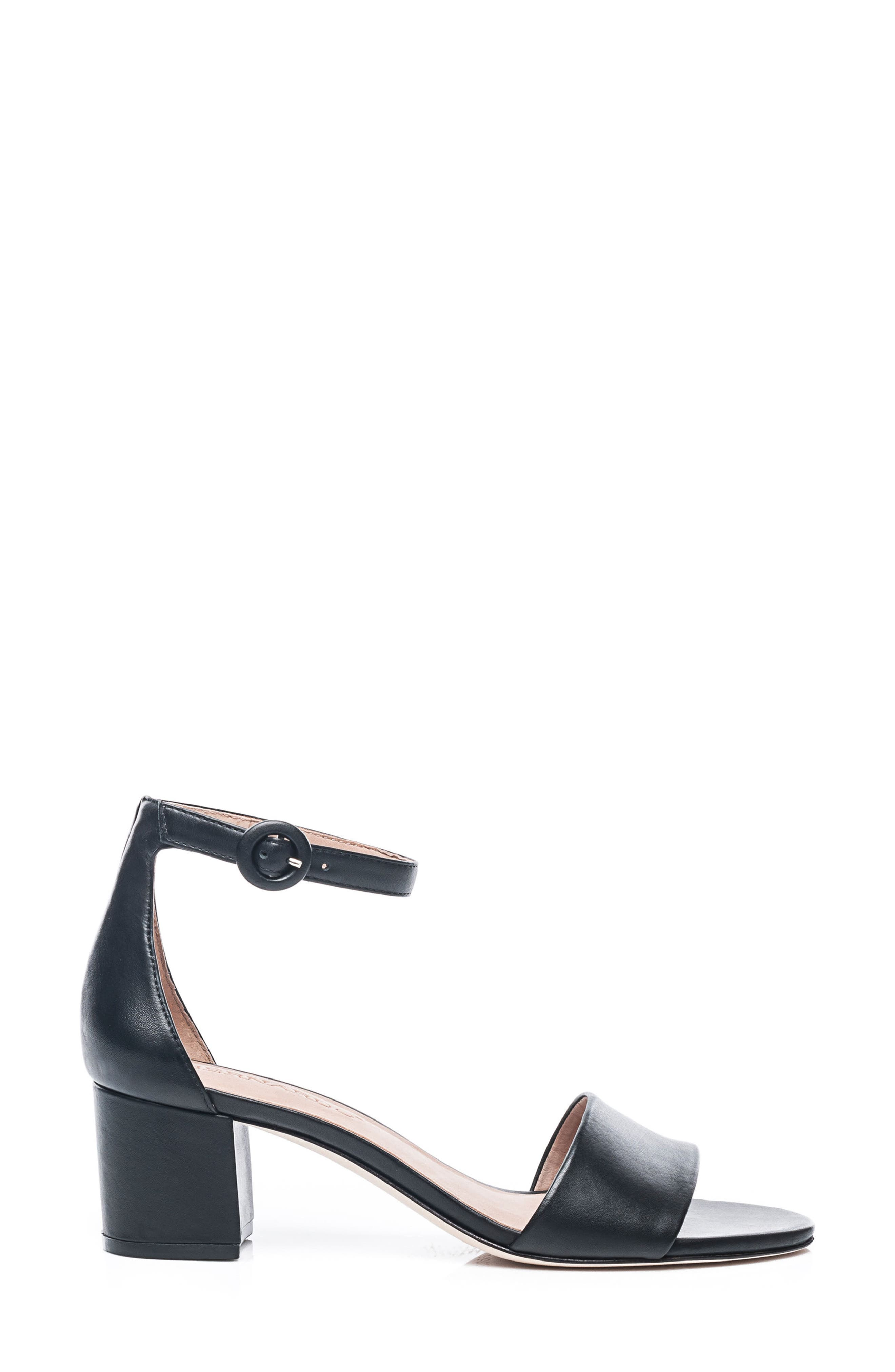 Bernardo Belinda Ankle Strap Sandal,                             Alternate thumbnail 3, color,                             BLACK LEATHER