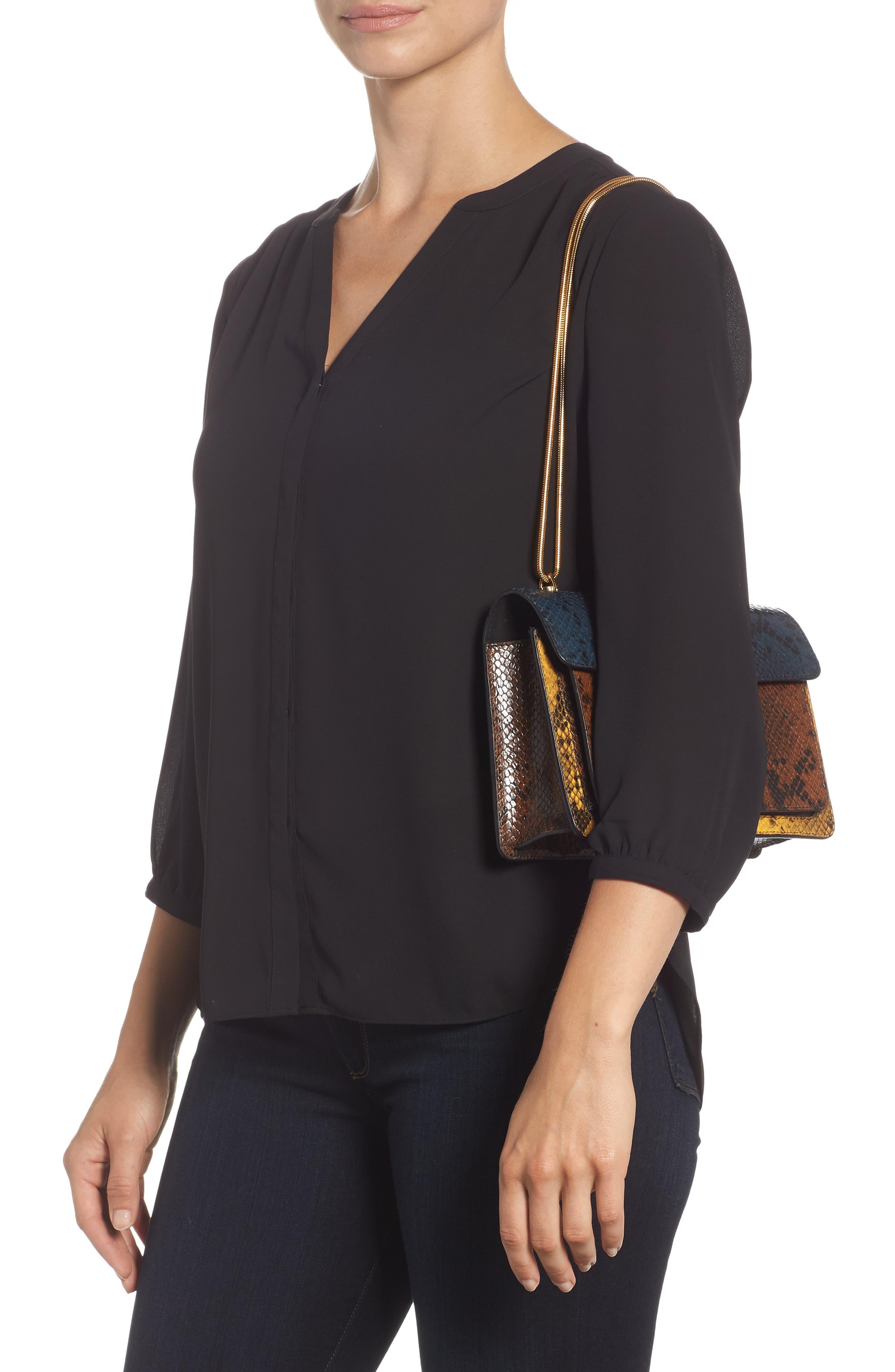 Croc Embossed Leather Shoulder Bag,                             Alternate thumbnail 2, color,                             200