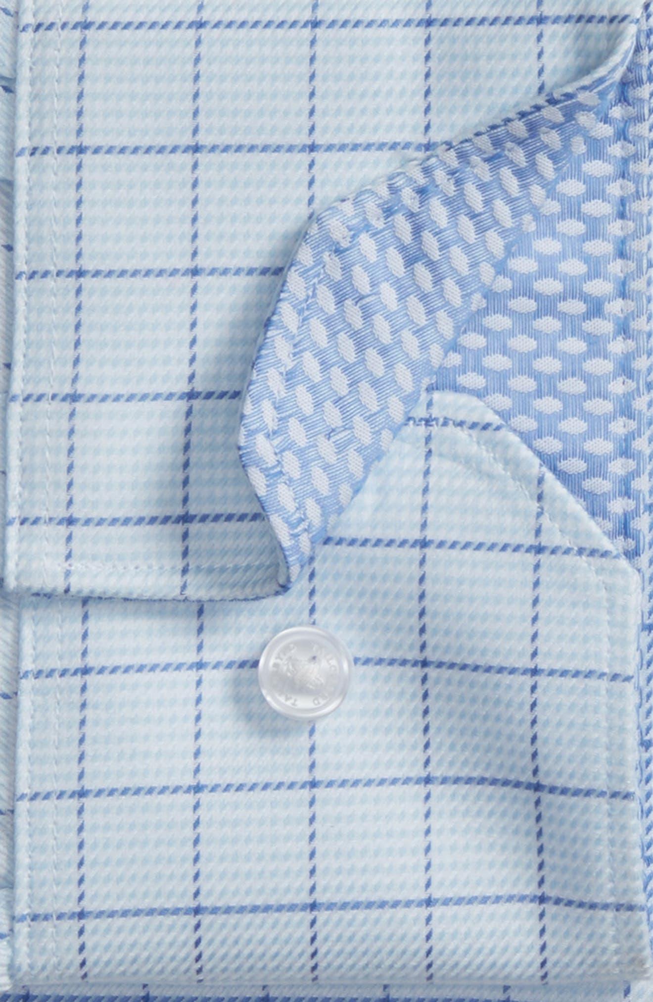 Alec Trim Fit Check Dress Shirt,                             Alternate thumbnail 6, color,                             LIGHT BLUE