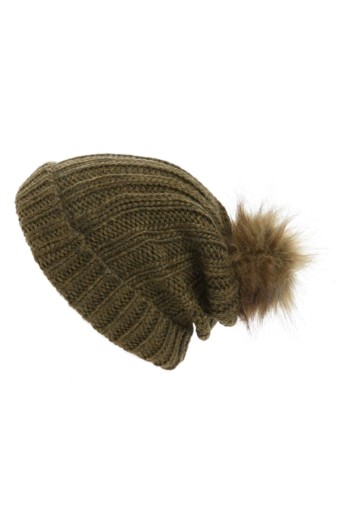 Faux Fur Pom Beanie,                             Main thumbnail 1, color,                             300