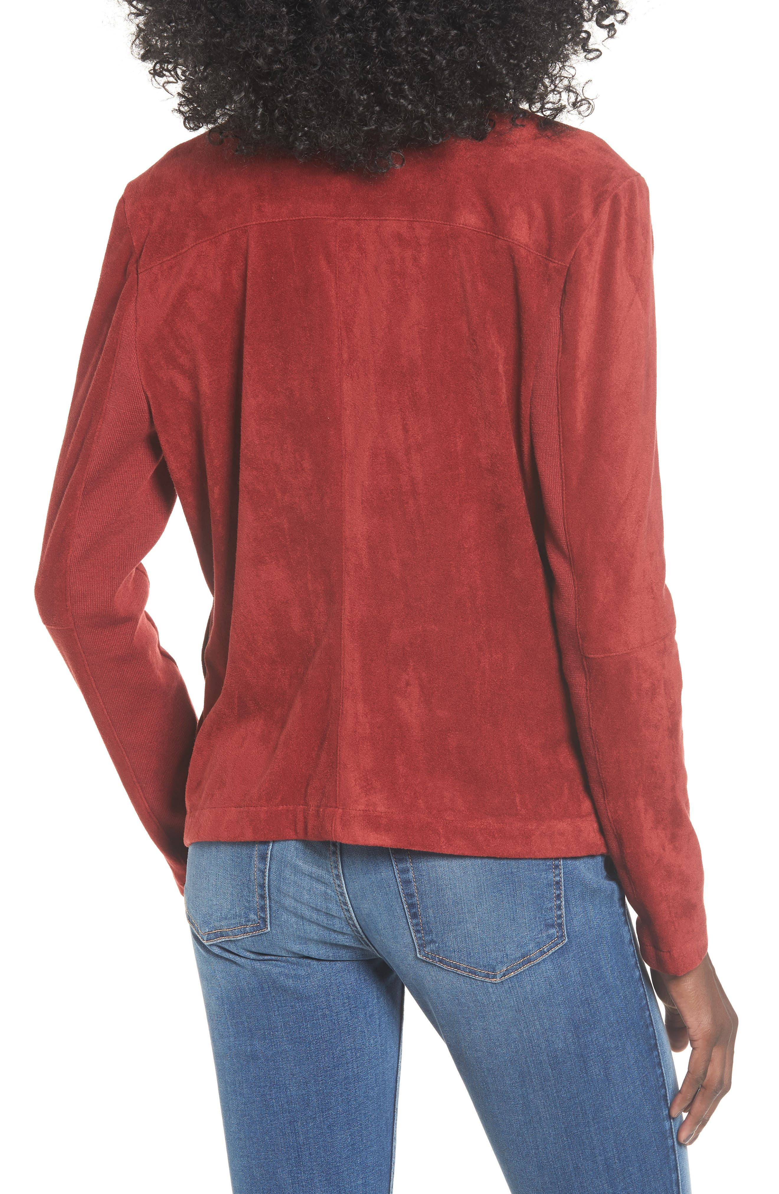 BB DAKOTA,                             Nicholson Faux Suede Drape Front Jacket,                             Alternate thumbnail 2, color,                             BRICK RED