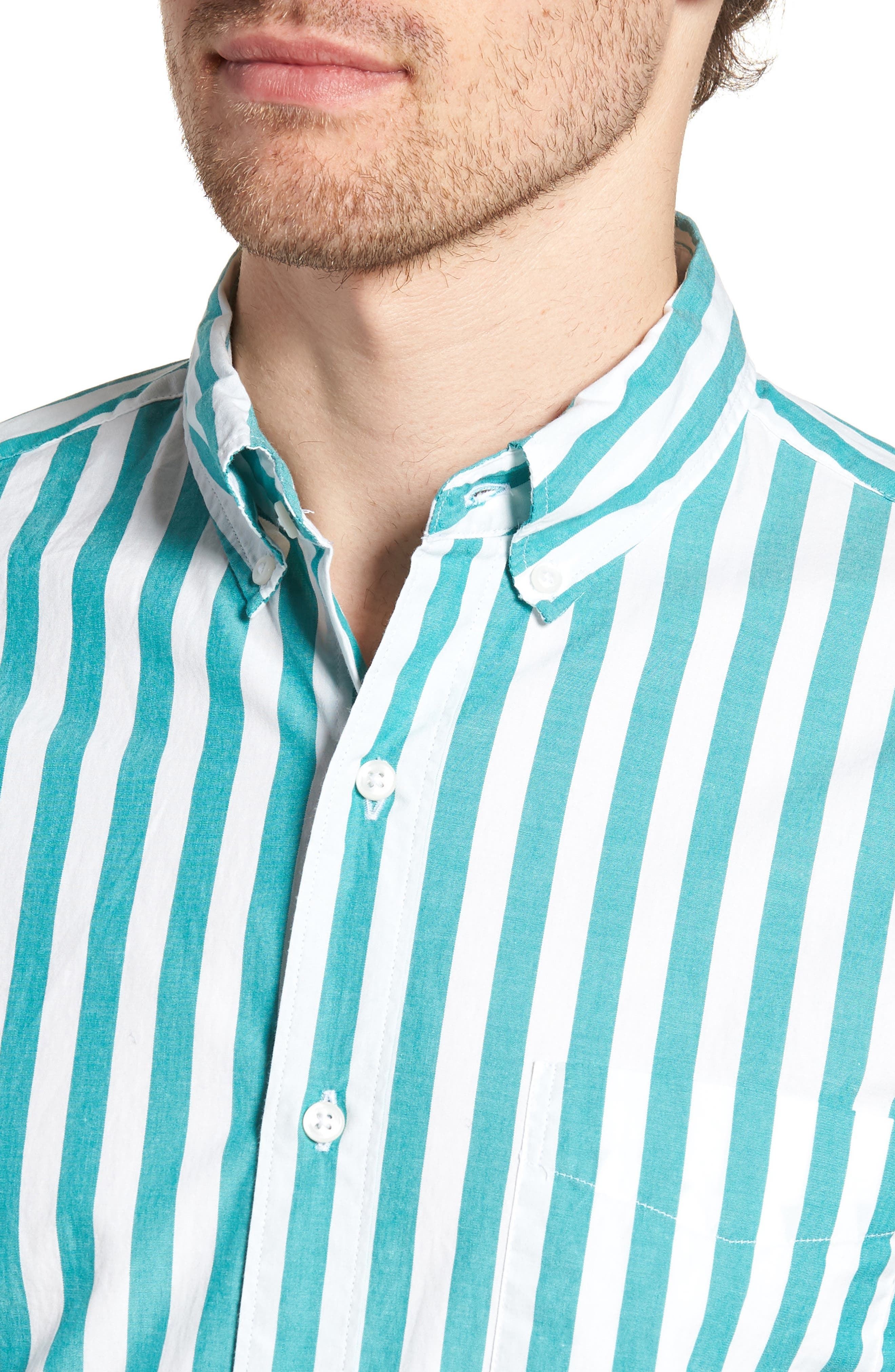 Slim Fit Stretch Secret Wash Stripe Sport Shirt,                             Alternate thumbnail 4, color,                             400