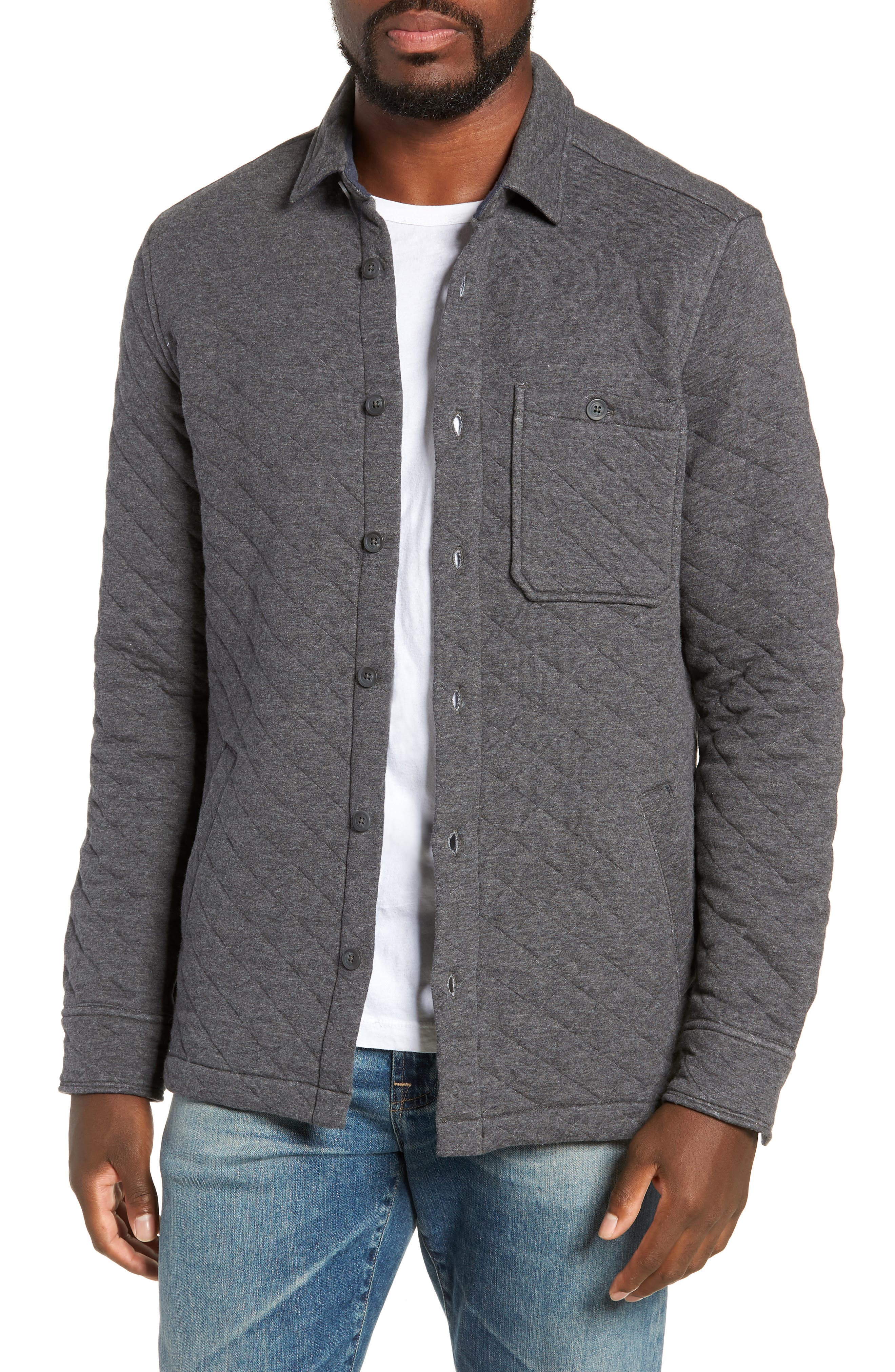 Cameron Regular Fit Quilted Shirt Jacket,                             Main thumbnail 1, color,                             FLINT HEATHER