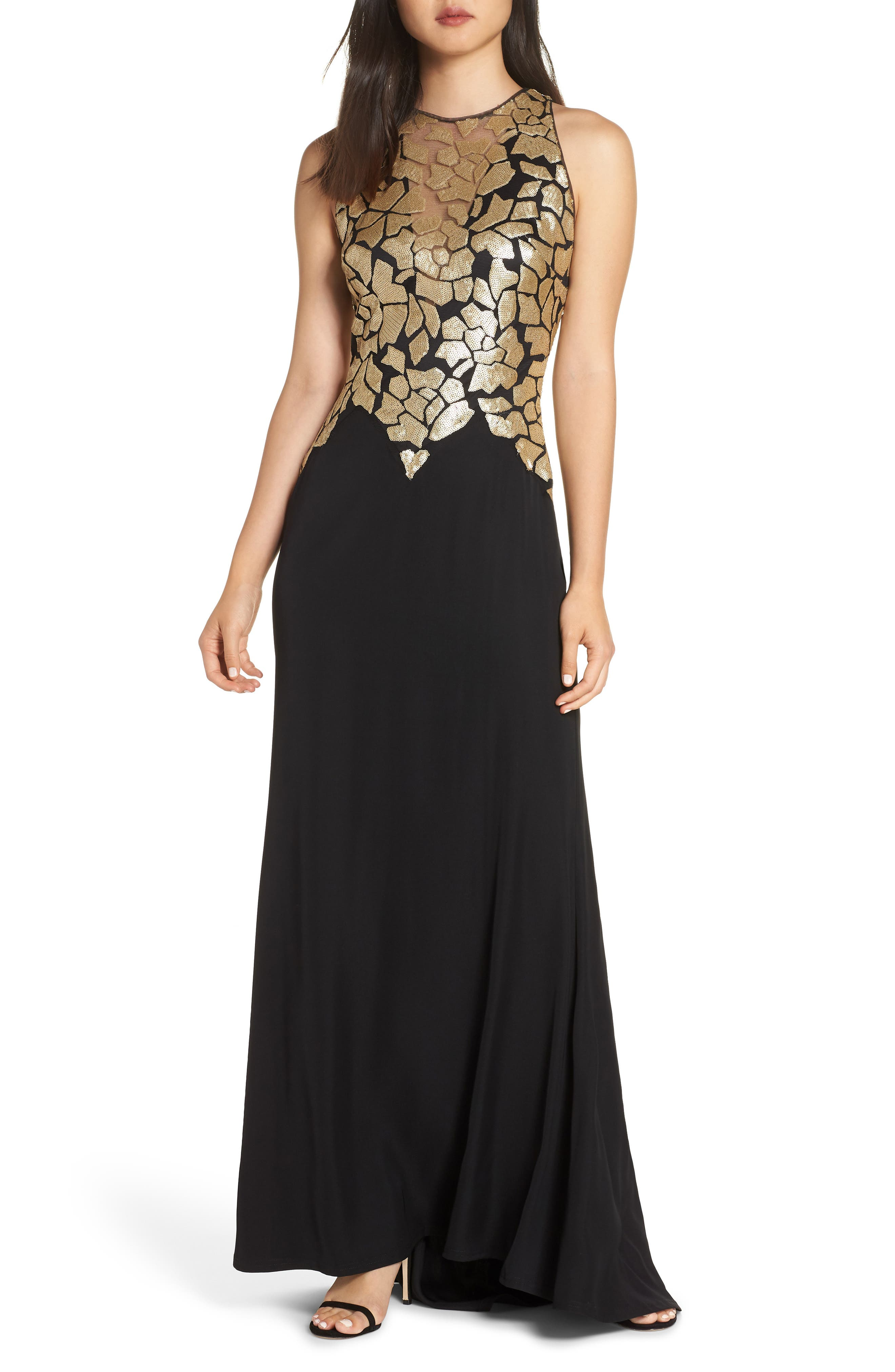Sleeveless Sequin & Crepe Gown,                             Main thumbnail 1, color,                             BLACK/ GOLD