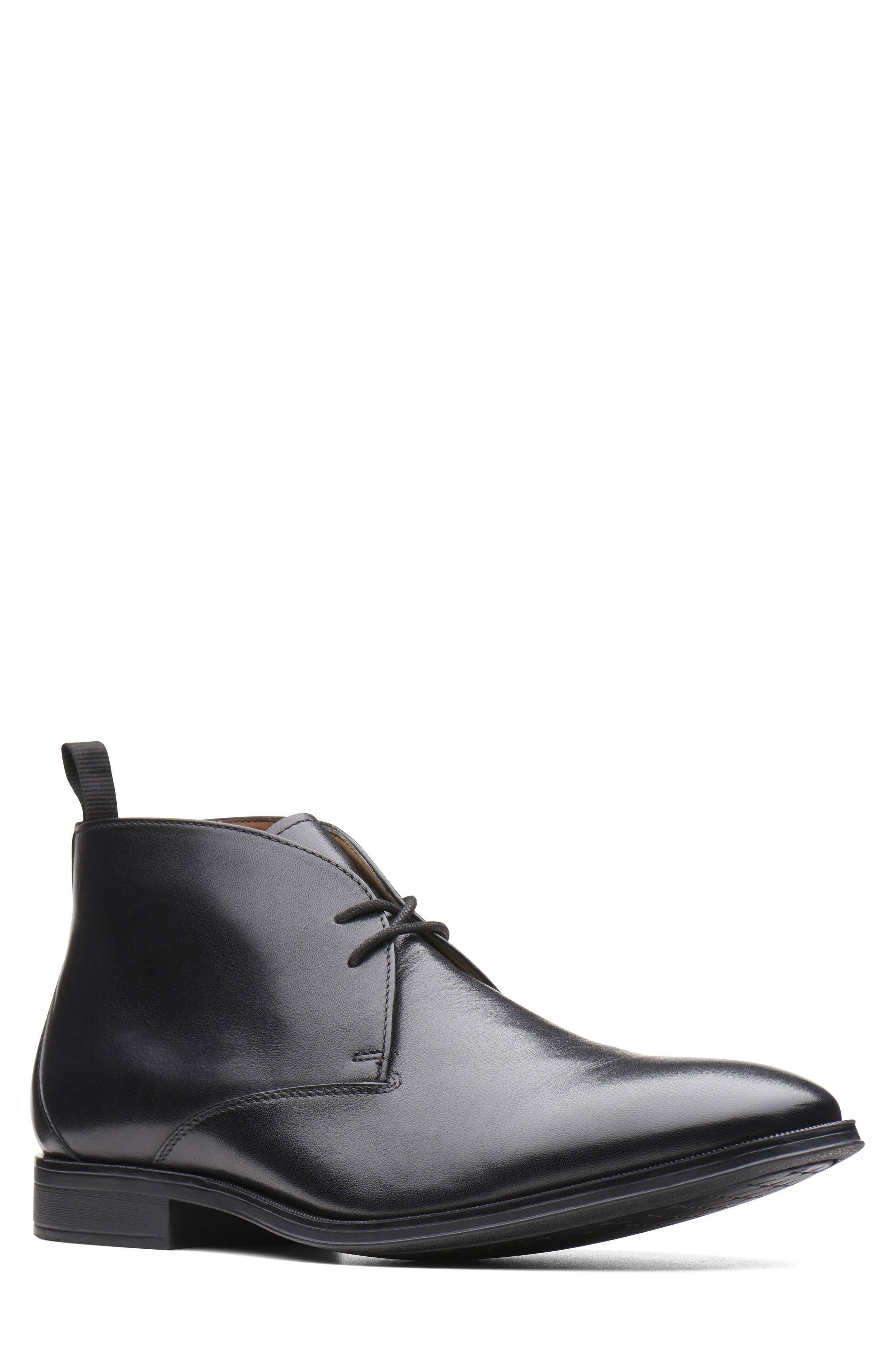 Gilman Mid Chukka Boot, Main, color, BLACK LEATHER