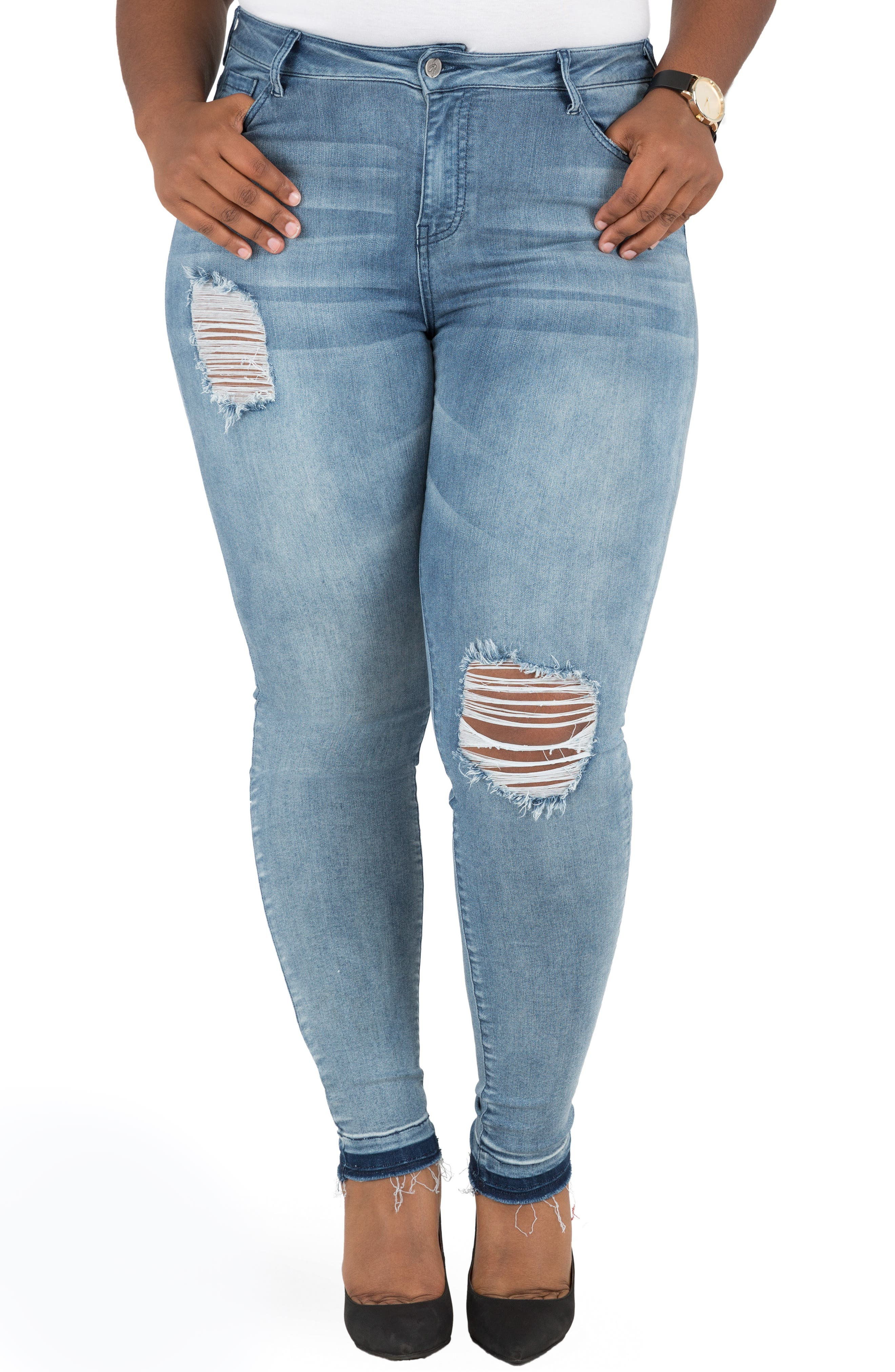 Corrine Release Hem Skinny Crop Jeans,                             Main thumbnail 1, color,                             LIGHT BLUE