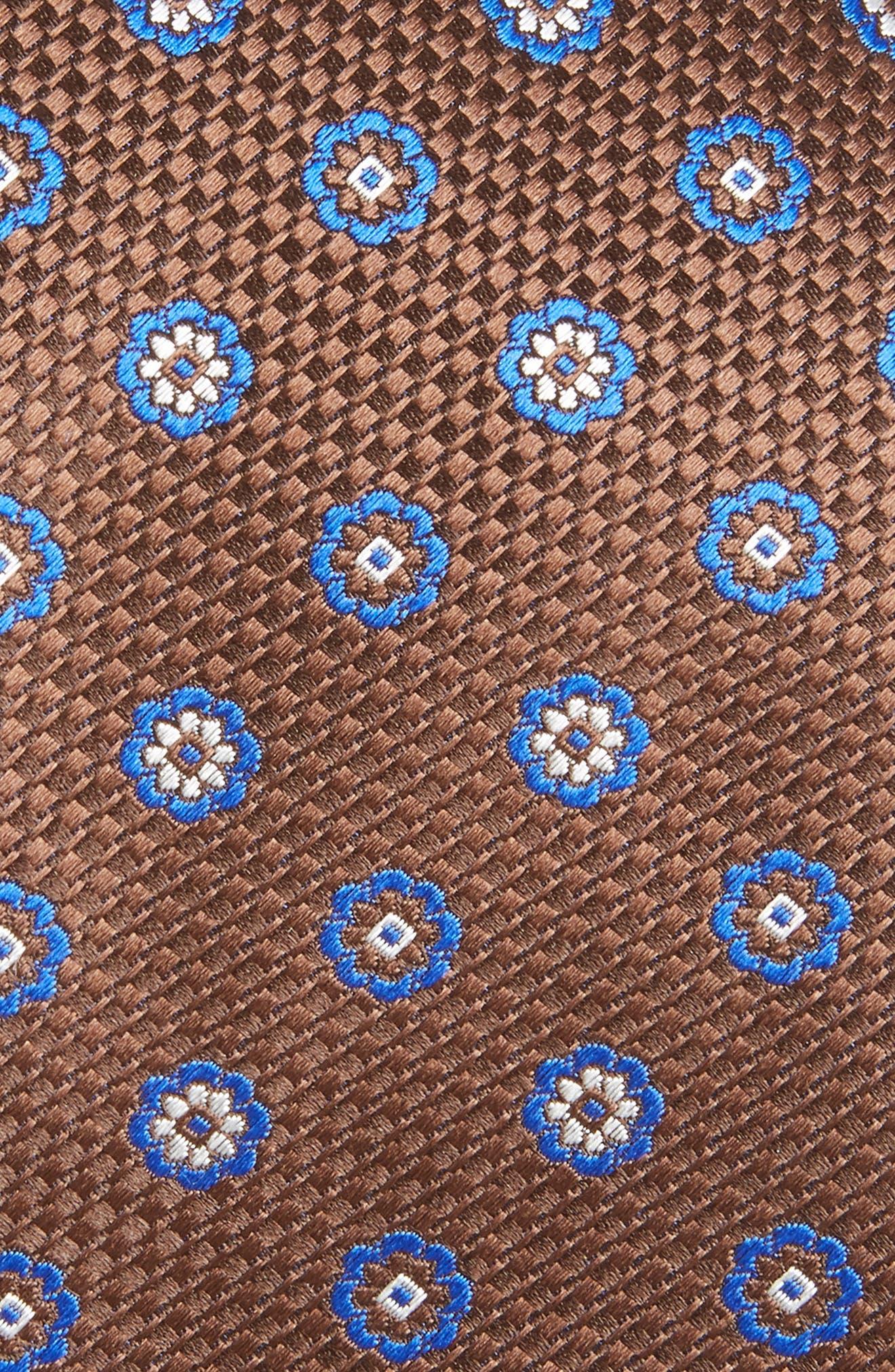 Medallion Silk Tie,                             Alternate thumbnail 2, color,                             BROWN