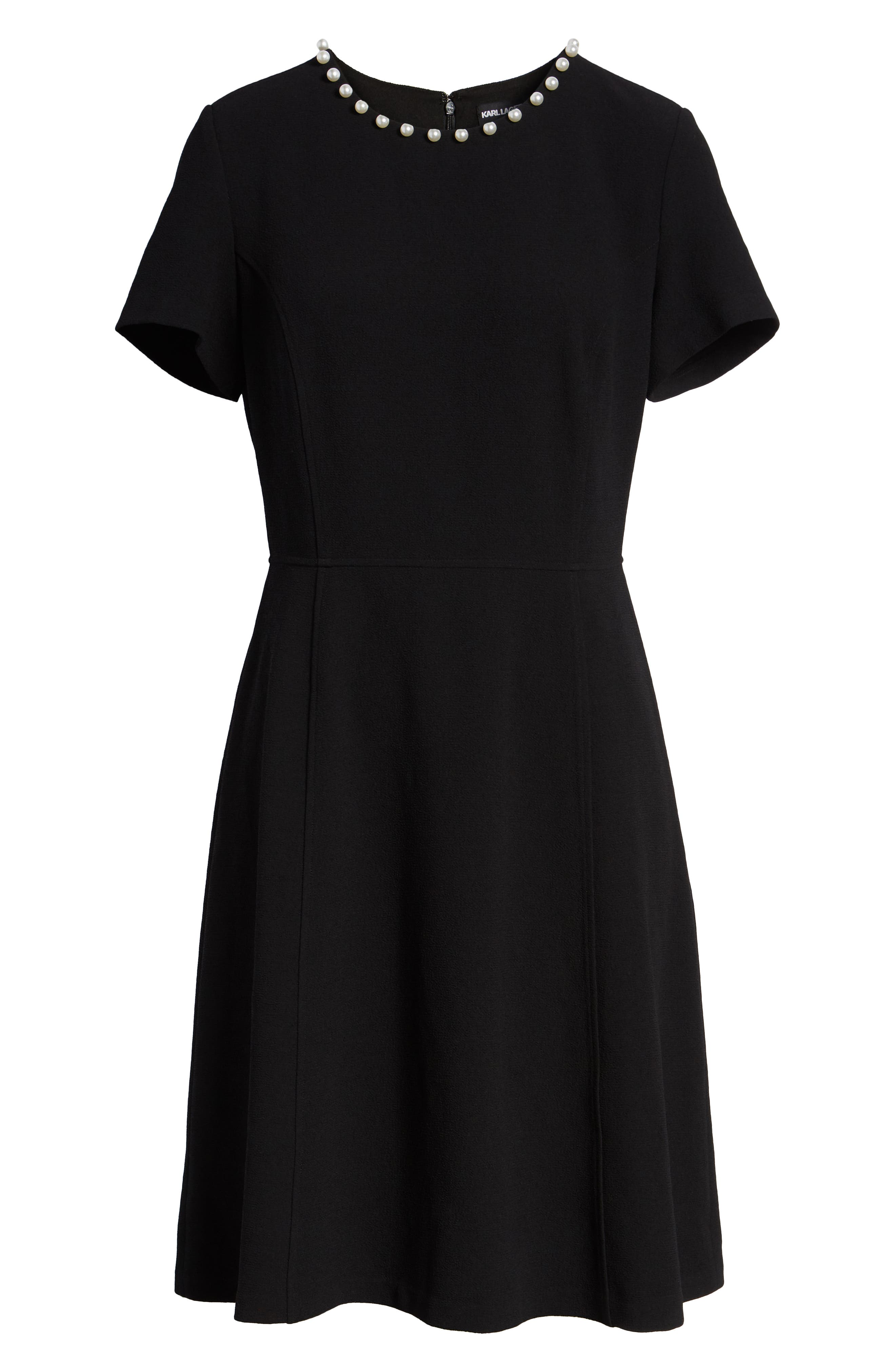 KARL LAGERFELD PARIS,                             Pearly Necklace Fit & Flare Dress,                             Alternate thumbnail 6, color,                             001