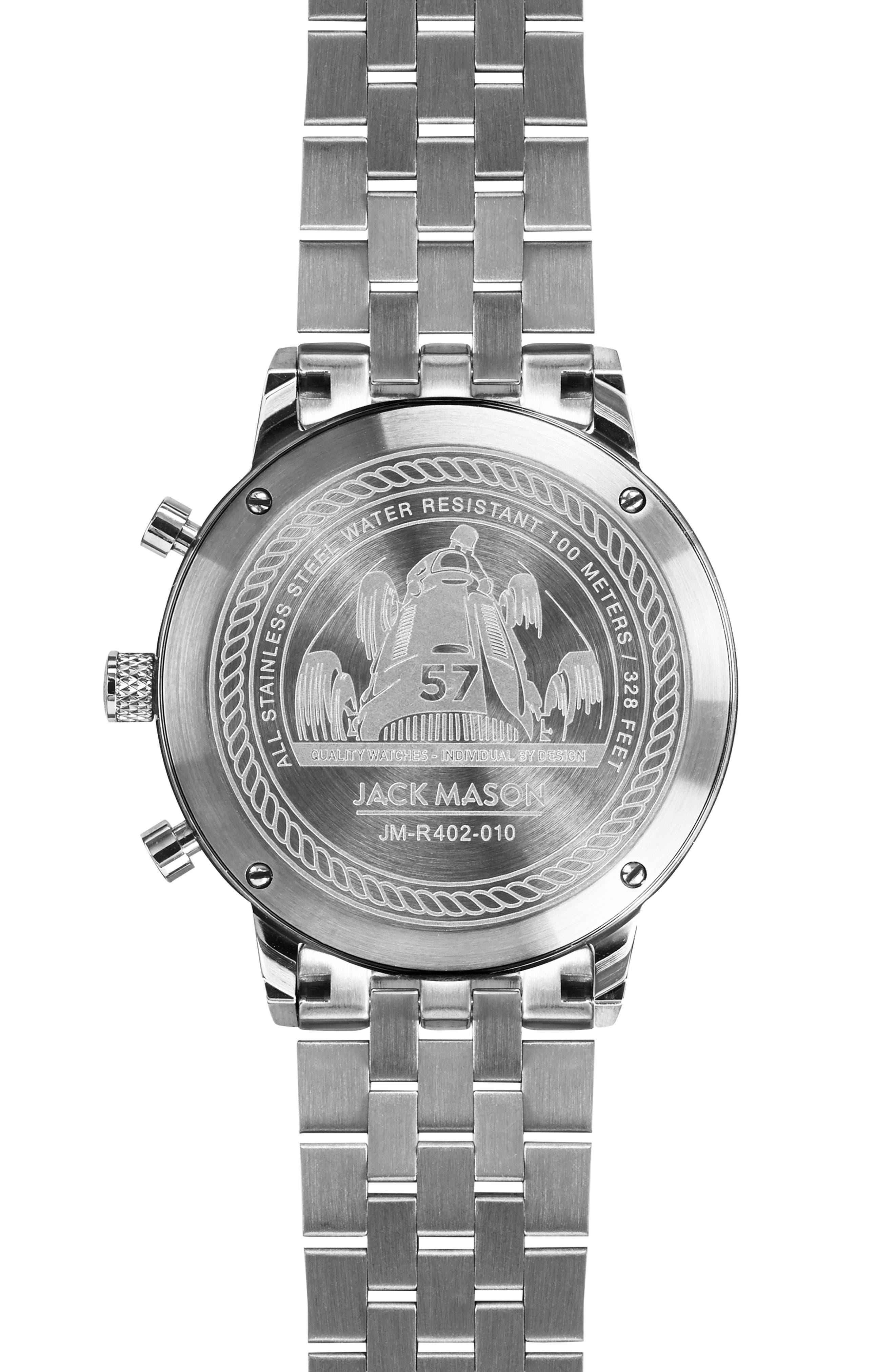JACK MASON,                             Racing Chronograph Bracelet Watch, 40mm,                             Alternate thumbnail 2, color,                             WHITE/ SILVER